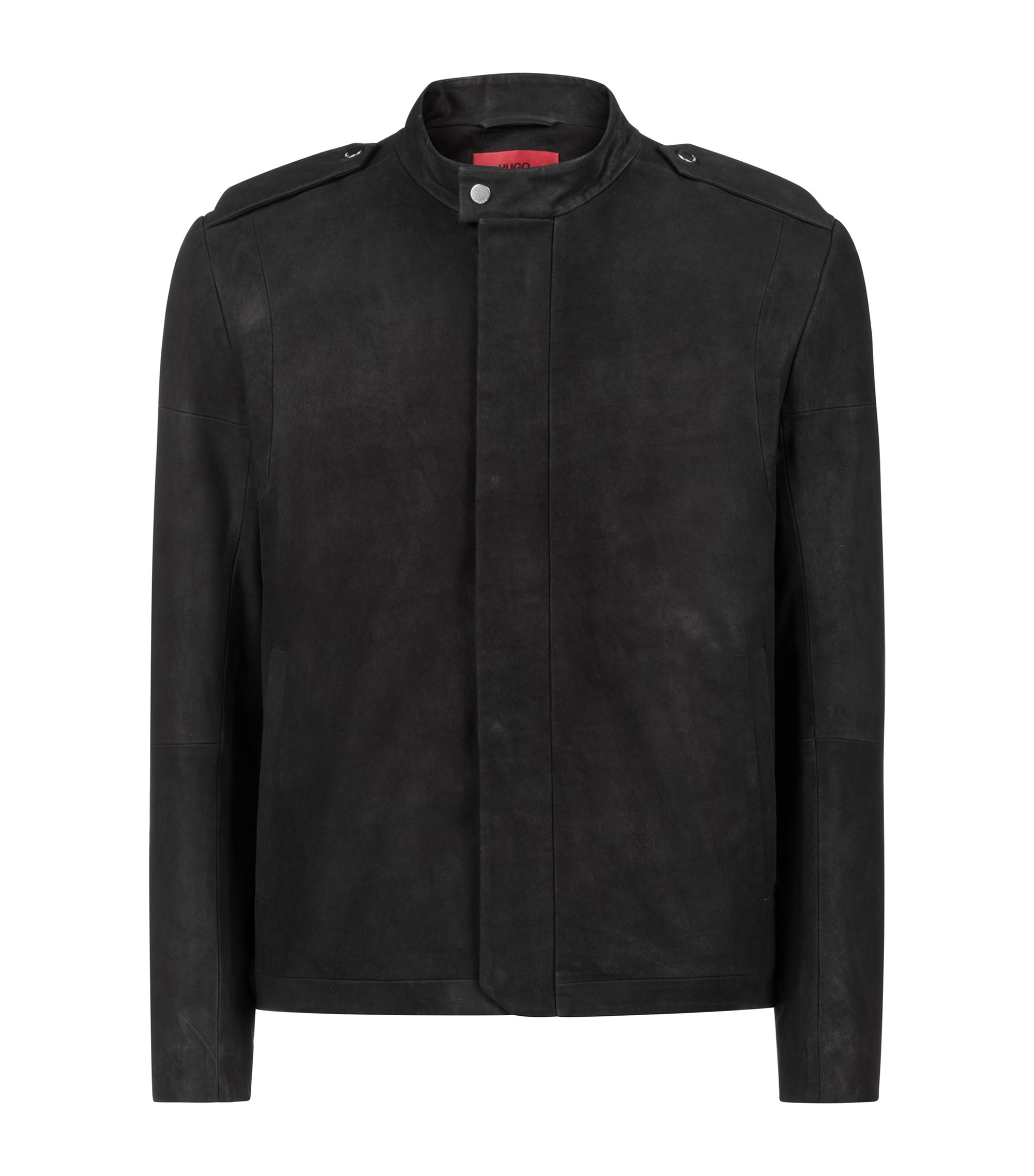 Slim-fit biker jacket in nubuck lambskin, Black
