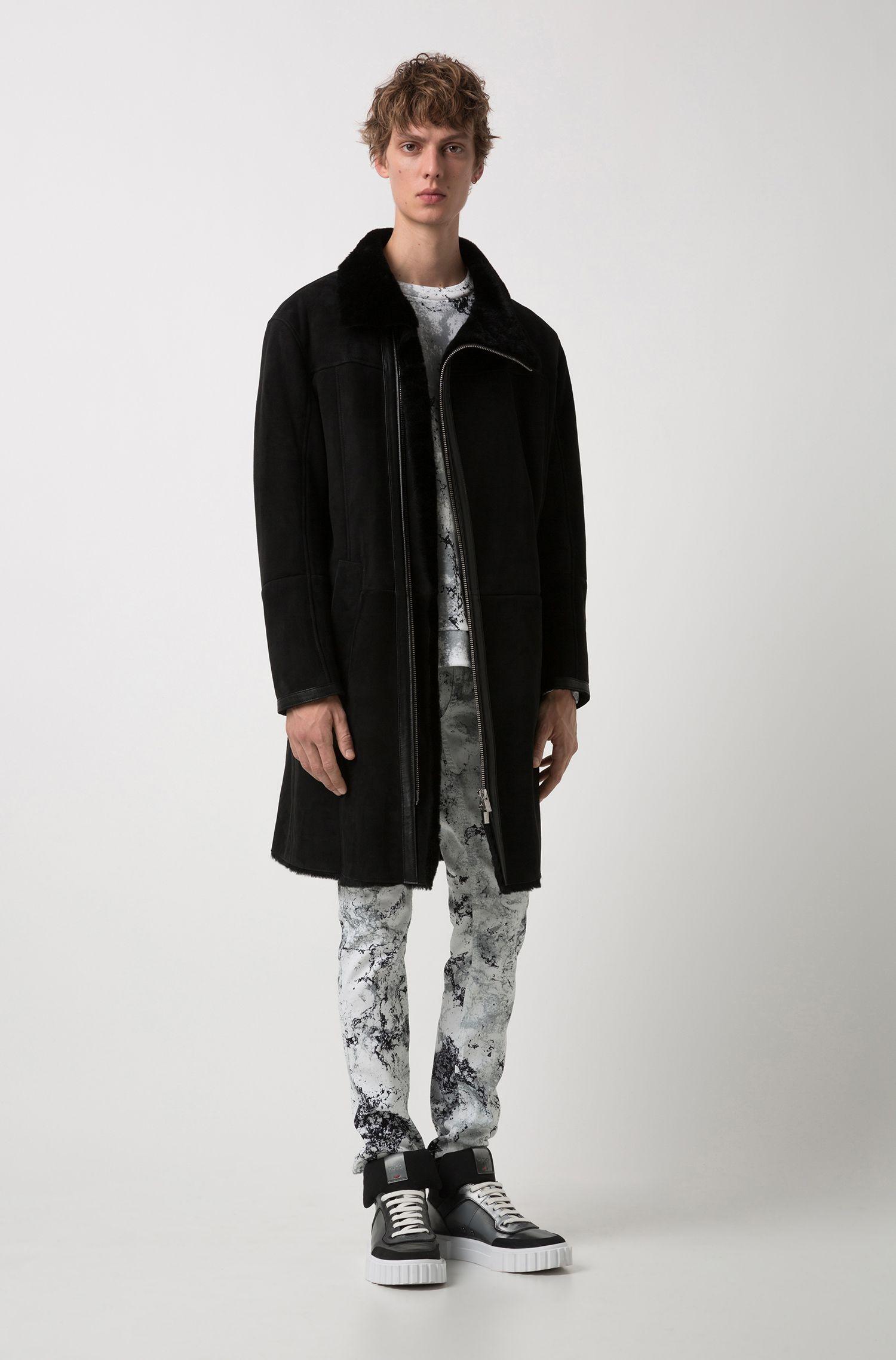 Manteau long en daim d'agneau avec col doublé de peau lainée , Noir