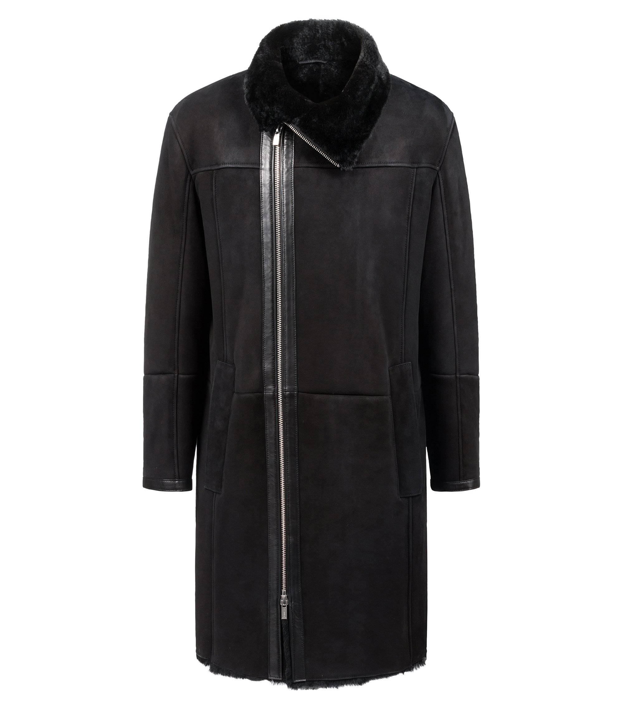 Longline lambskin suede coat with shearling-lined collar  , Black