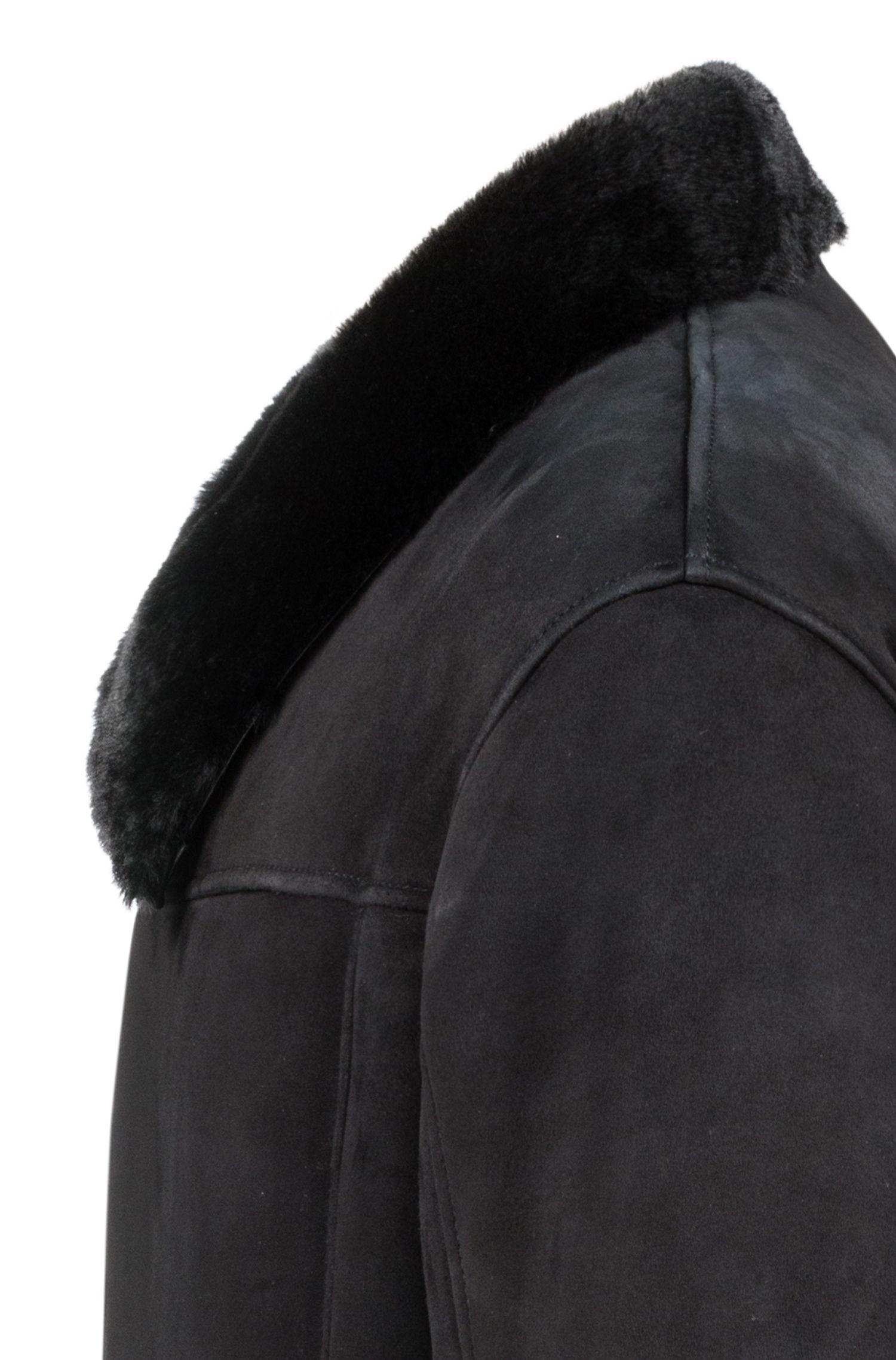 Langer Veloursleder-Mantel mit Kragen-Innenfutter aus Lammfell , Schwarz