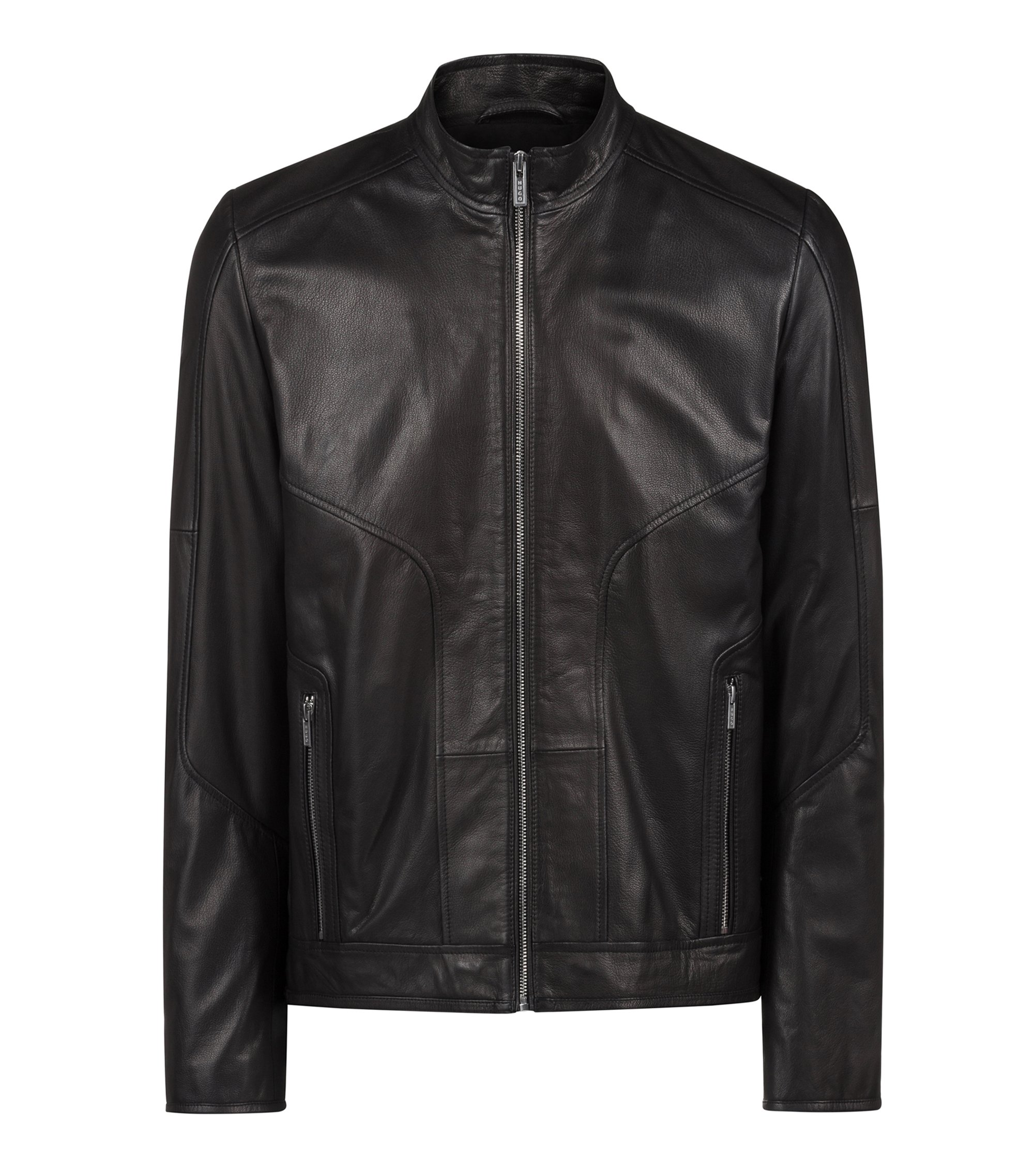 Slim-fit biker jacket in oiled nappa nubuck leather, Black