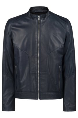 Slim-fit biker jacket in oiled nappa nubuck leather 773e7eb24d0