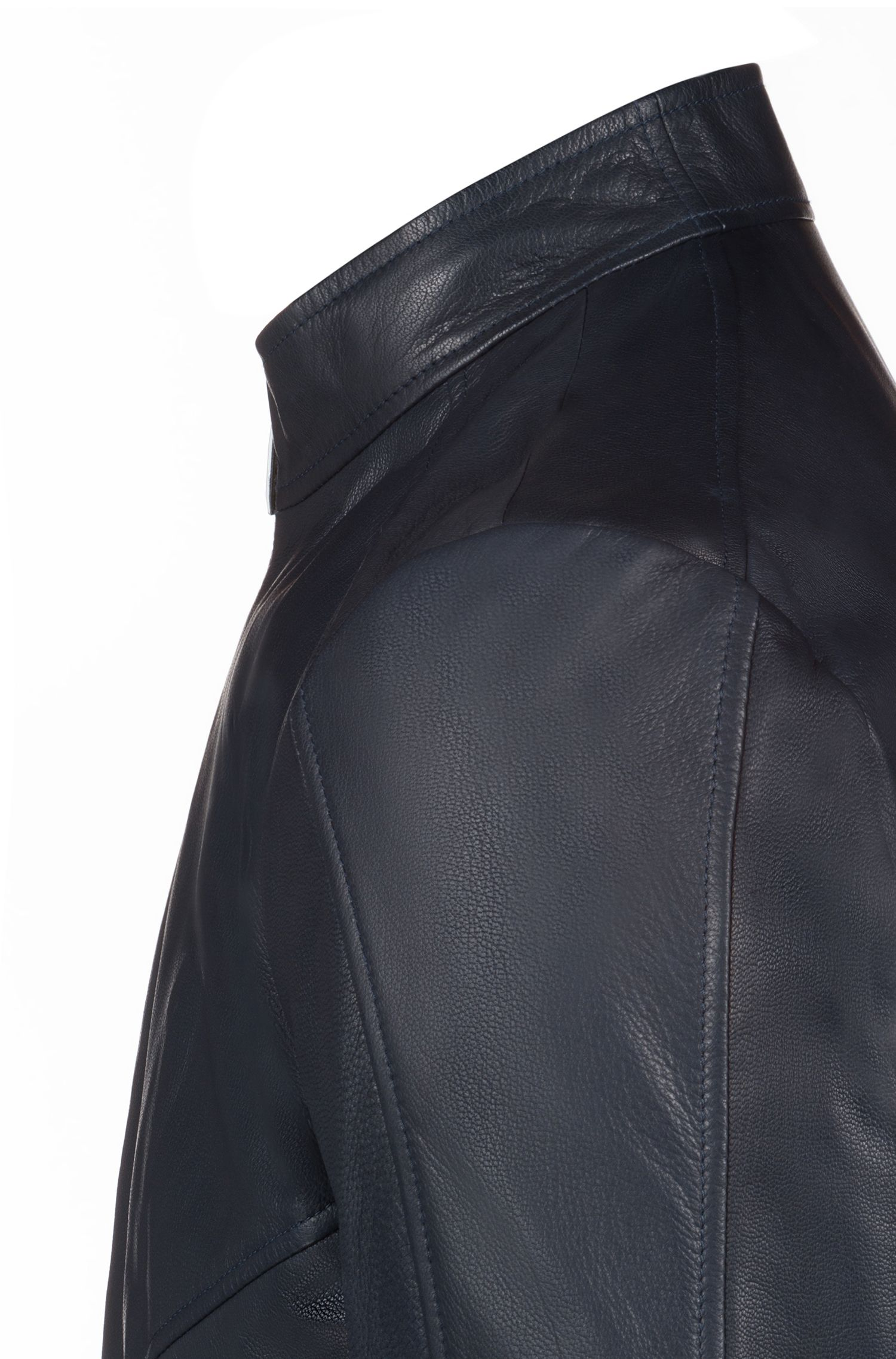 Slim-fit biker jacket in oiled nappa nubuck leather, Dark Blue