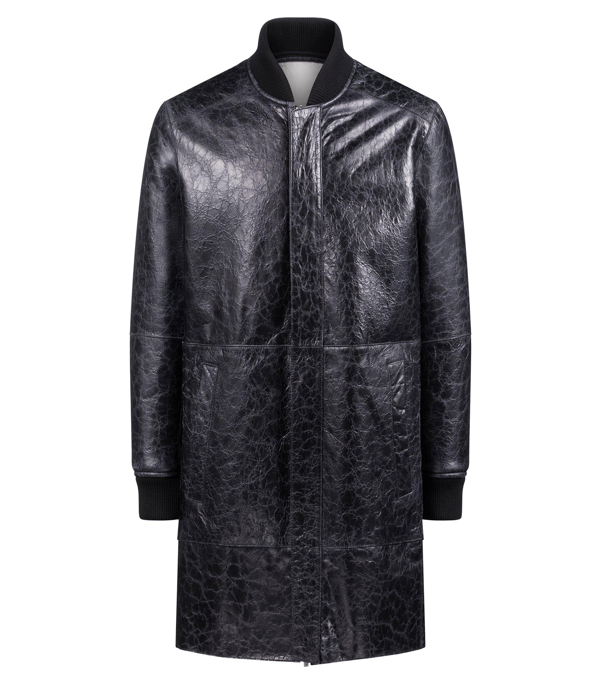 Veste mixte réversible en cuir d'agneau et peau lainée, Noir
