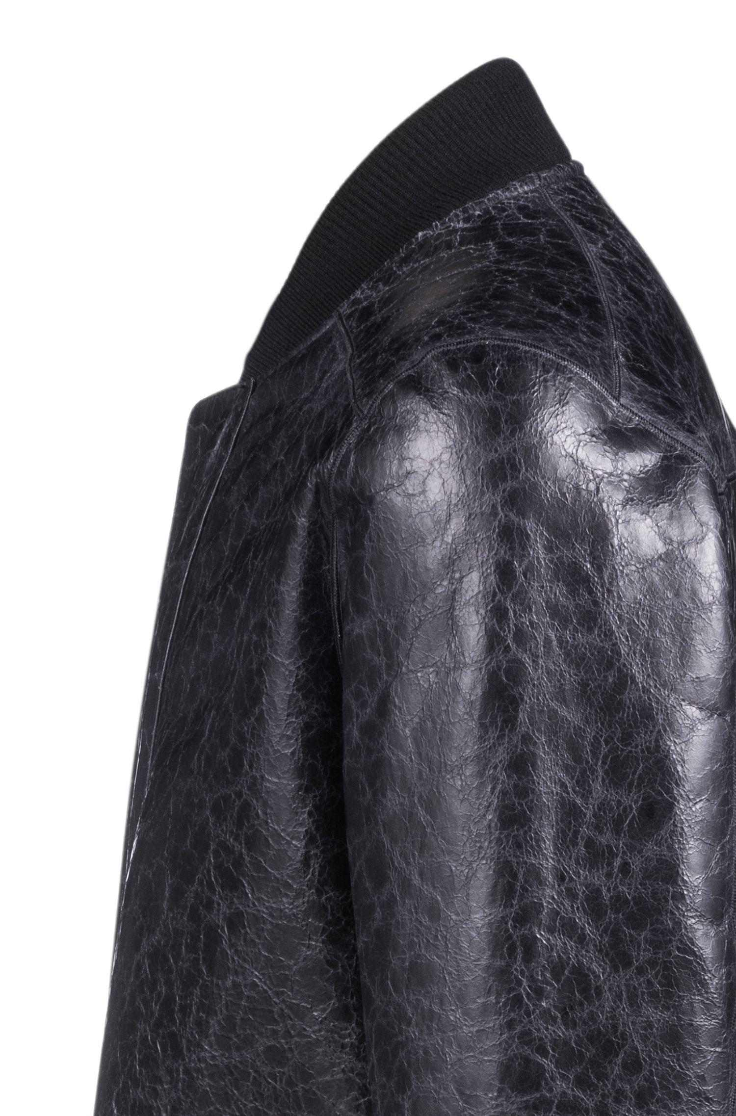 Giacca unisex reversibile in pelle d'agnello e shearling, Nero