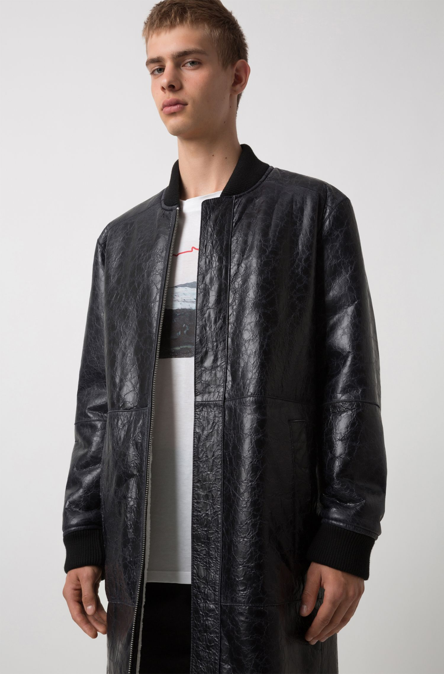 Unisex reversible jacket in lambskin and shearling