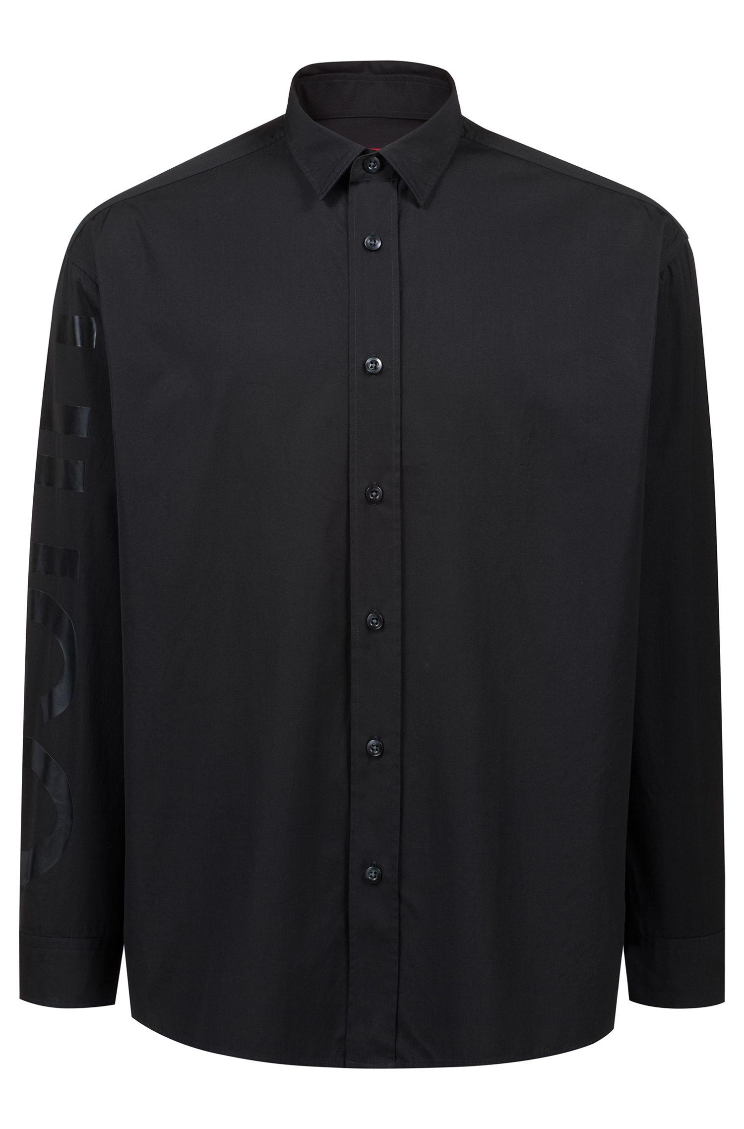 Camisa oversized fit en algodón con logo de goma en la manga, Negro