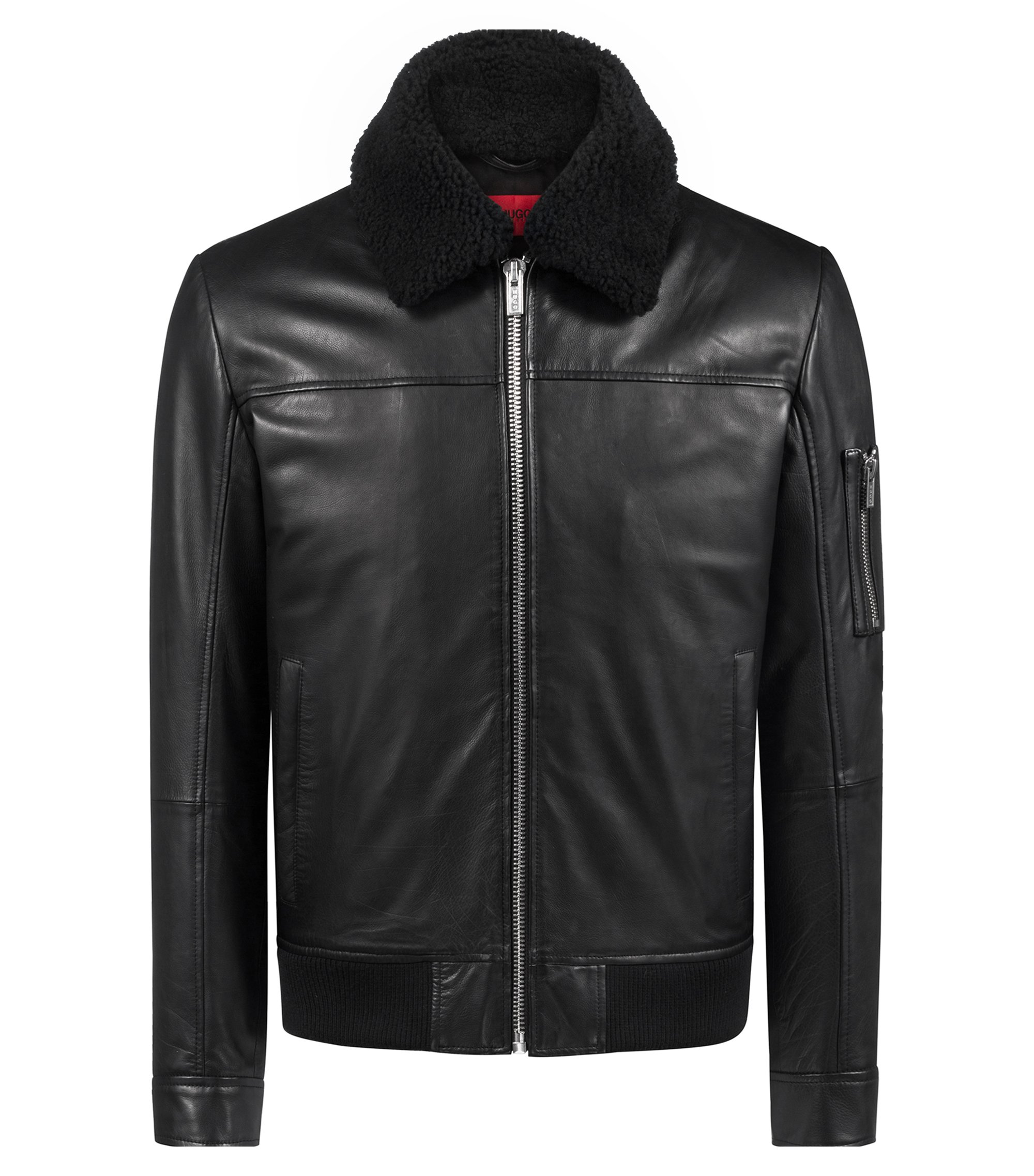 Slim-fit bomber jacket in buffalo calf leather, Black