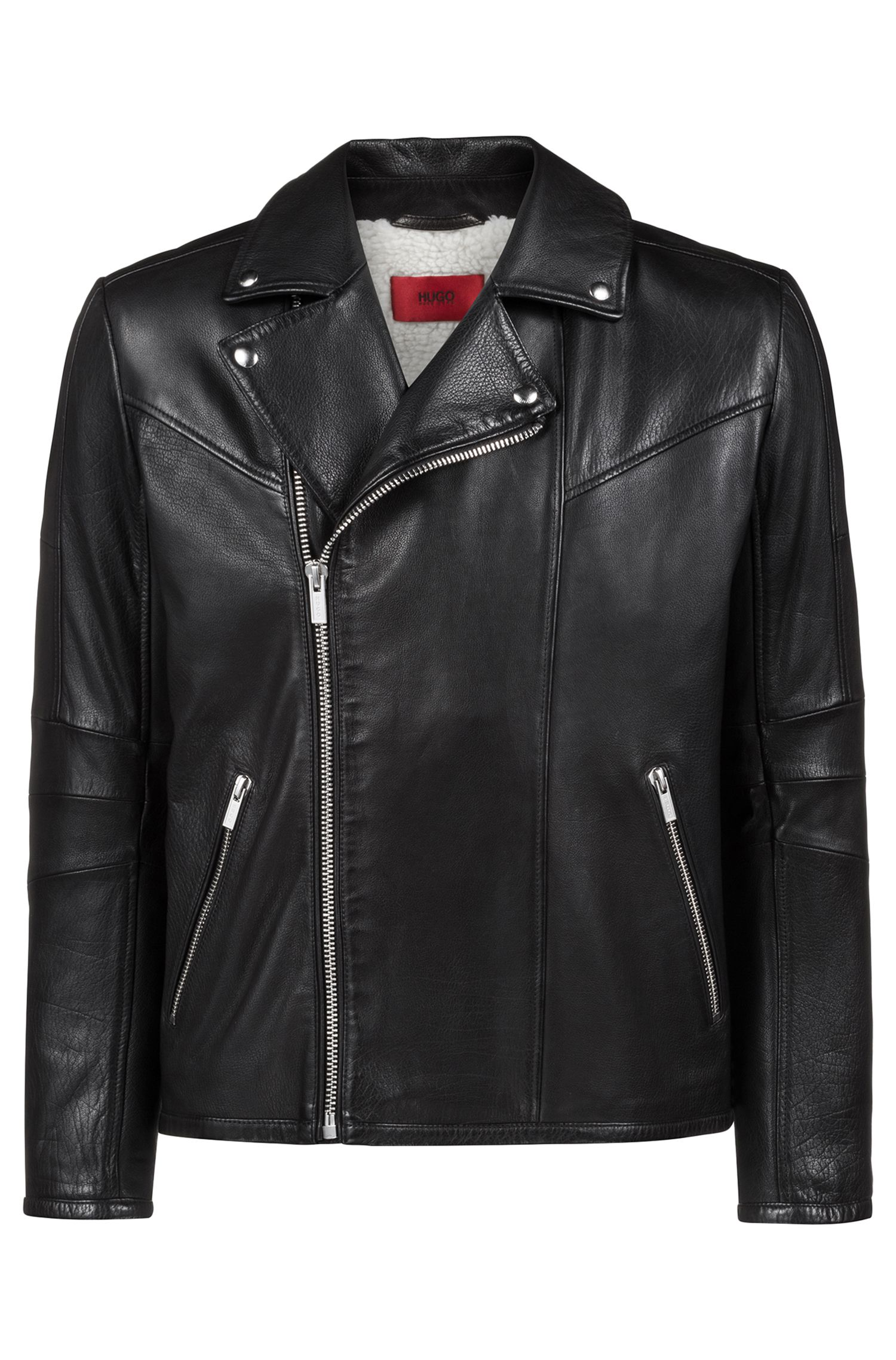Biker jacket in buffalo leather with teddy lining, Black