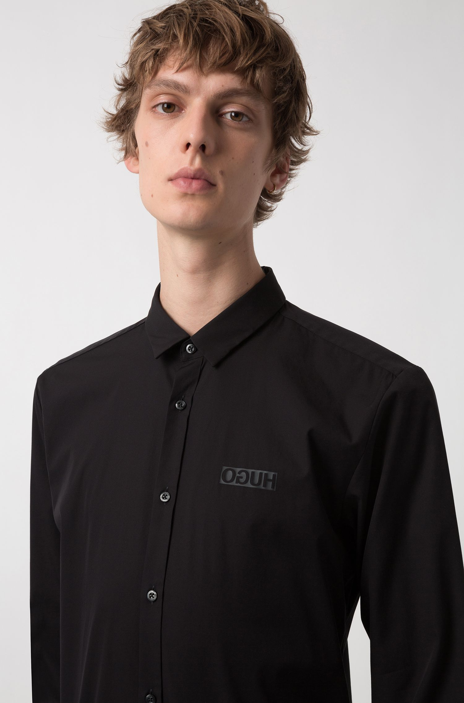 Extra-slim-fit cotton shirt with reverse logo, Black