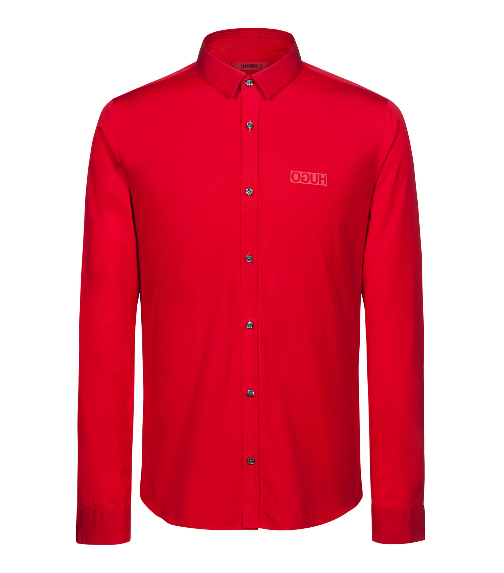 Extra-slim-fit cotton shirt with reverse logo, Red