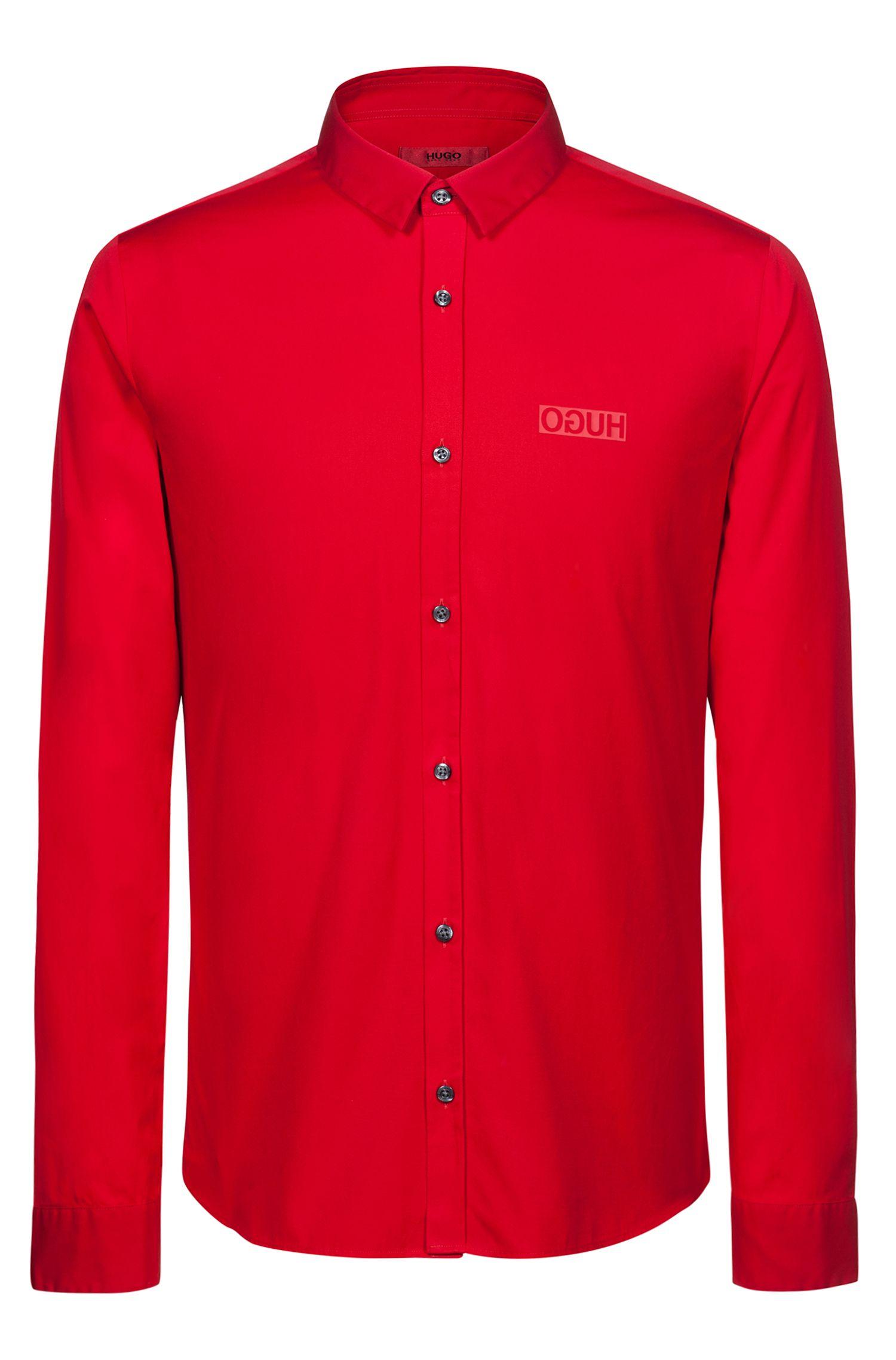 Extra slim-fit overhemd van katoen met gespiegeld logo, Rood