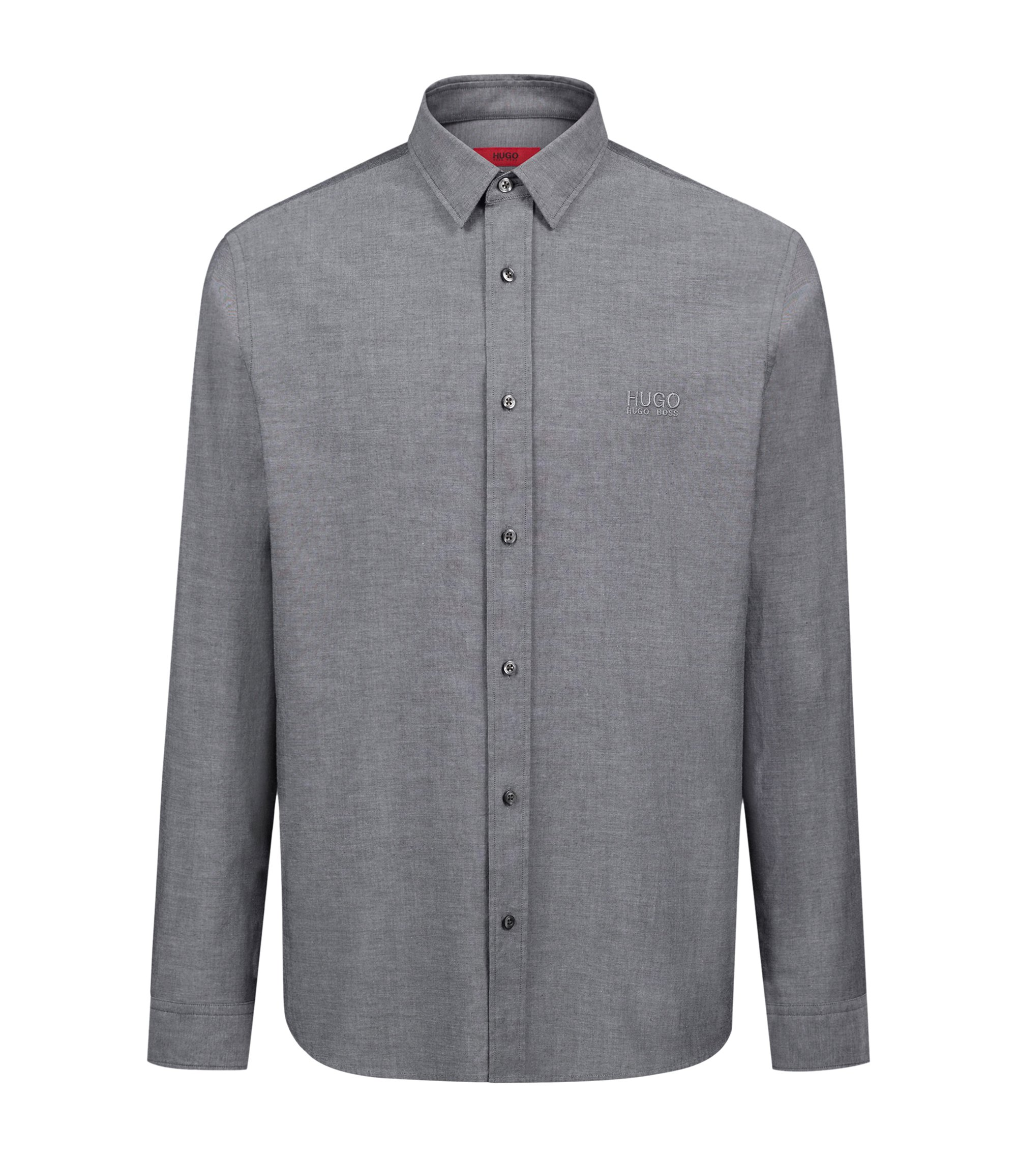 Relaxed-fit washed Oxford shirt with logo embroidery, Black