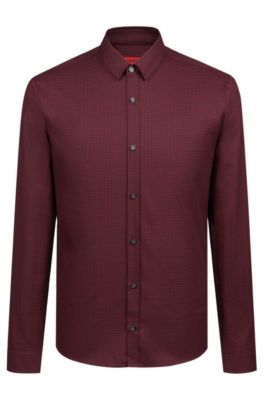 Extra-slim-fit shirt in houndstooth cotton tweed, Red