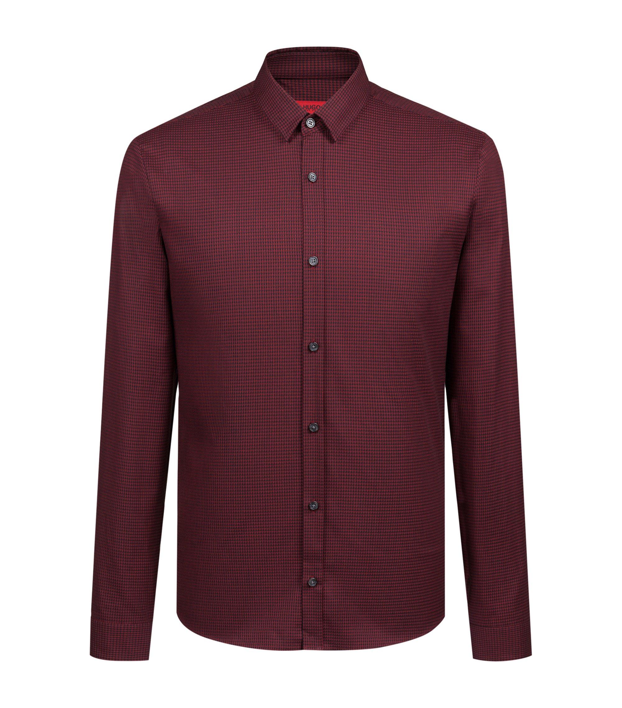 Chemise extra slim fit en tweed de coton pied-de-poule, Rouge