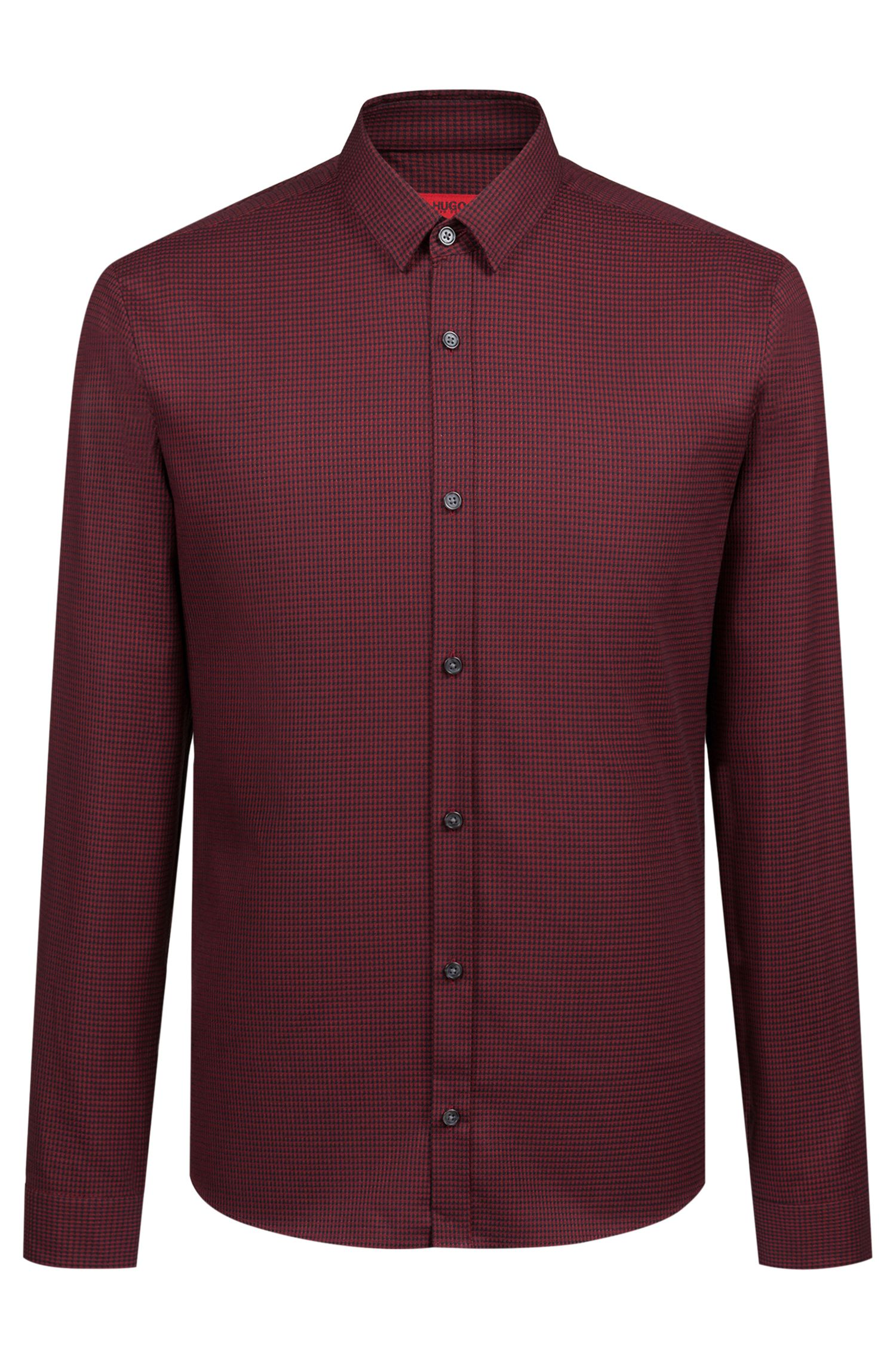 Extra-slim-fit shirt in houndstooth cotton tweed
