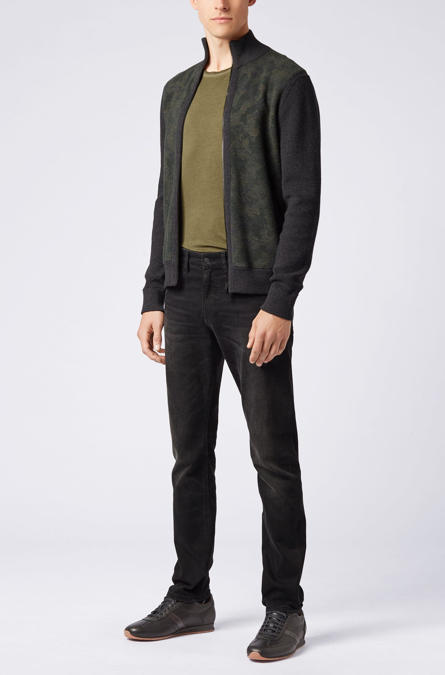 Slim-fit jeans with camouflage pocket facings , Dark Grey