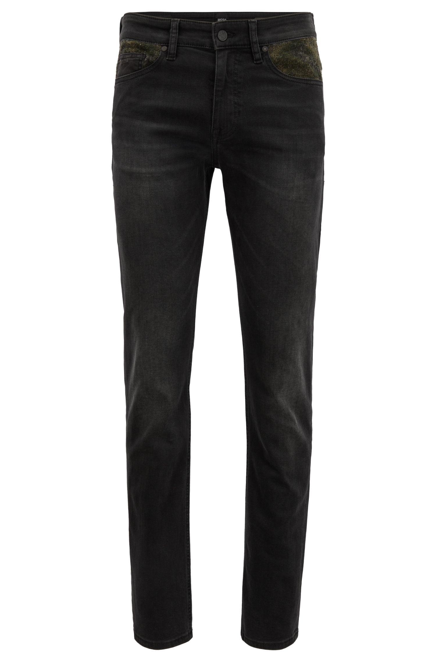 Slim-Fit Jeans aus Super-Stretch-Denim mit Camouflage-Details , Dunkelgrau