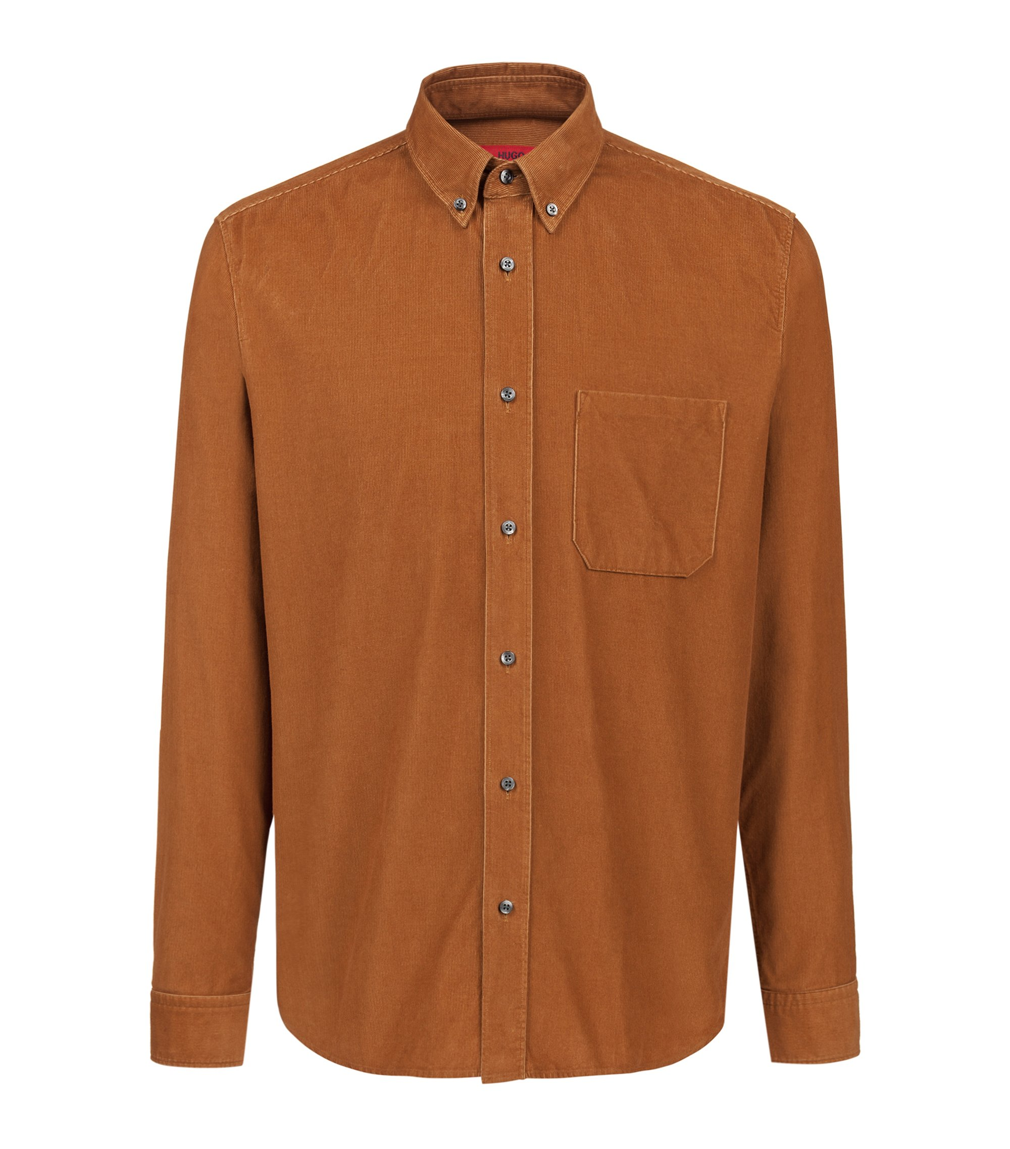 Relaxed-fit button-down shirt in baby corduroy, Brown