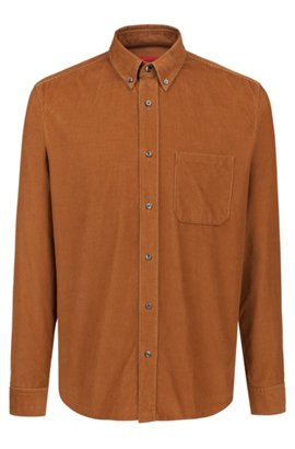 532809b23c Relaxed-fit button-down shirt in baby corduroy, Brown