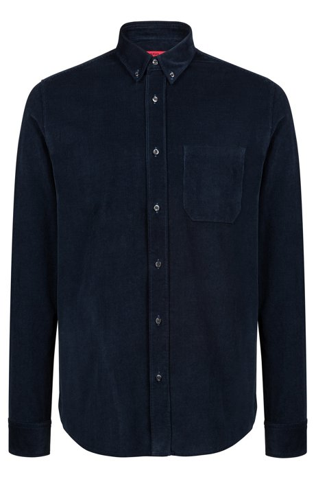 93bdcc09de Relaxed-fit button-down shirt in baby corduroy, Dark Blue