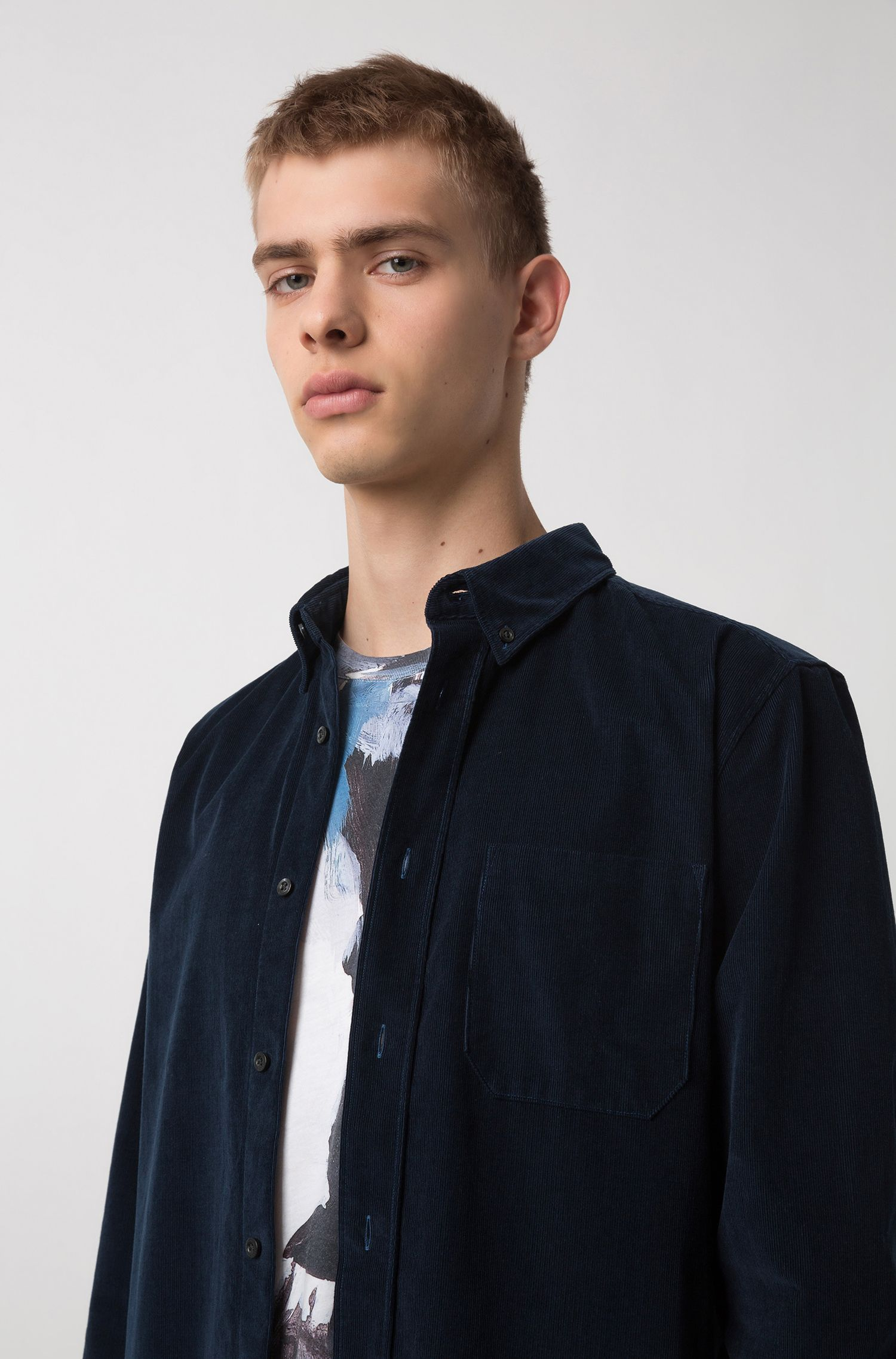 Relaxed-fit button-down shirt in baby corduroy, Dark Blue