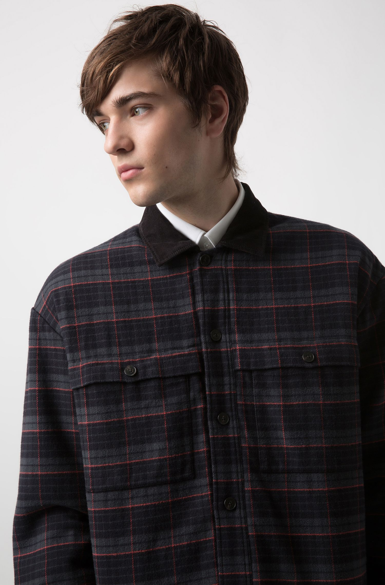 Glen-check cotton shirt with contrast collar, Patterned
