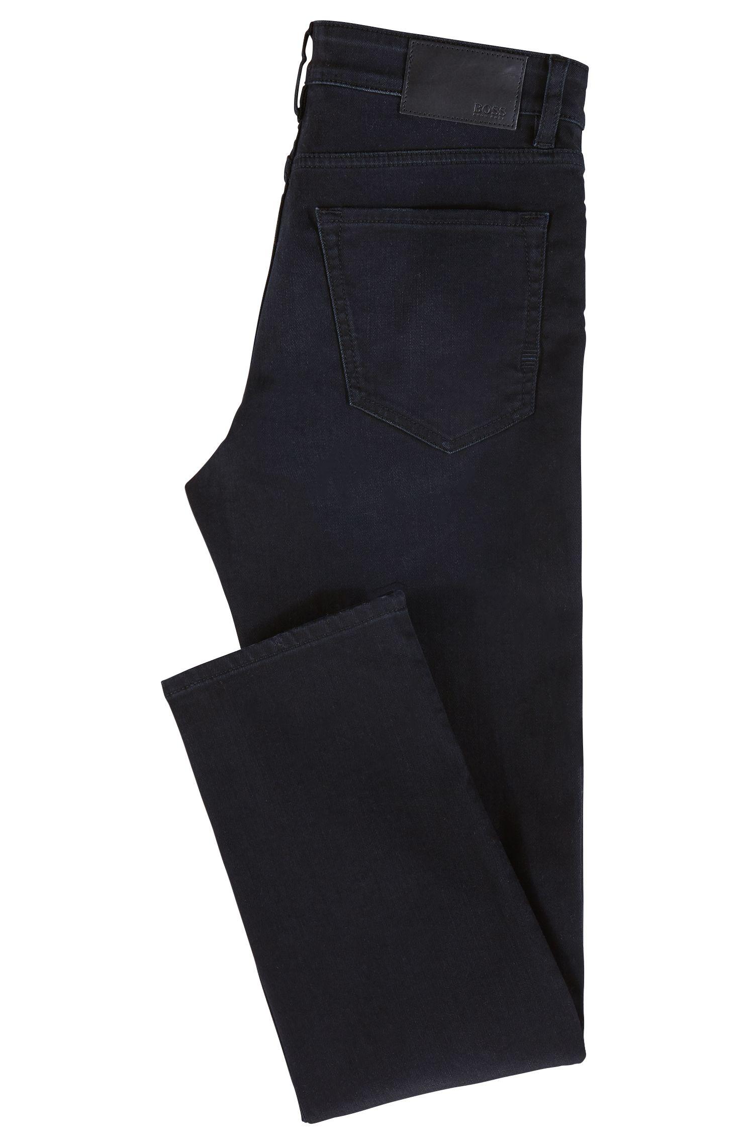 Jeans regular fit in denim elasticizzato indaco sovratinto, Blu scuro