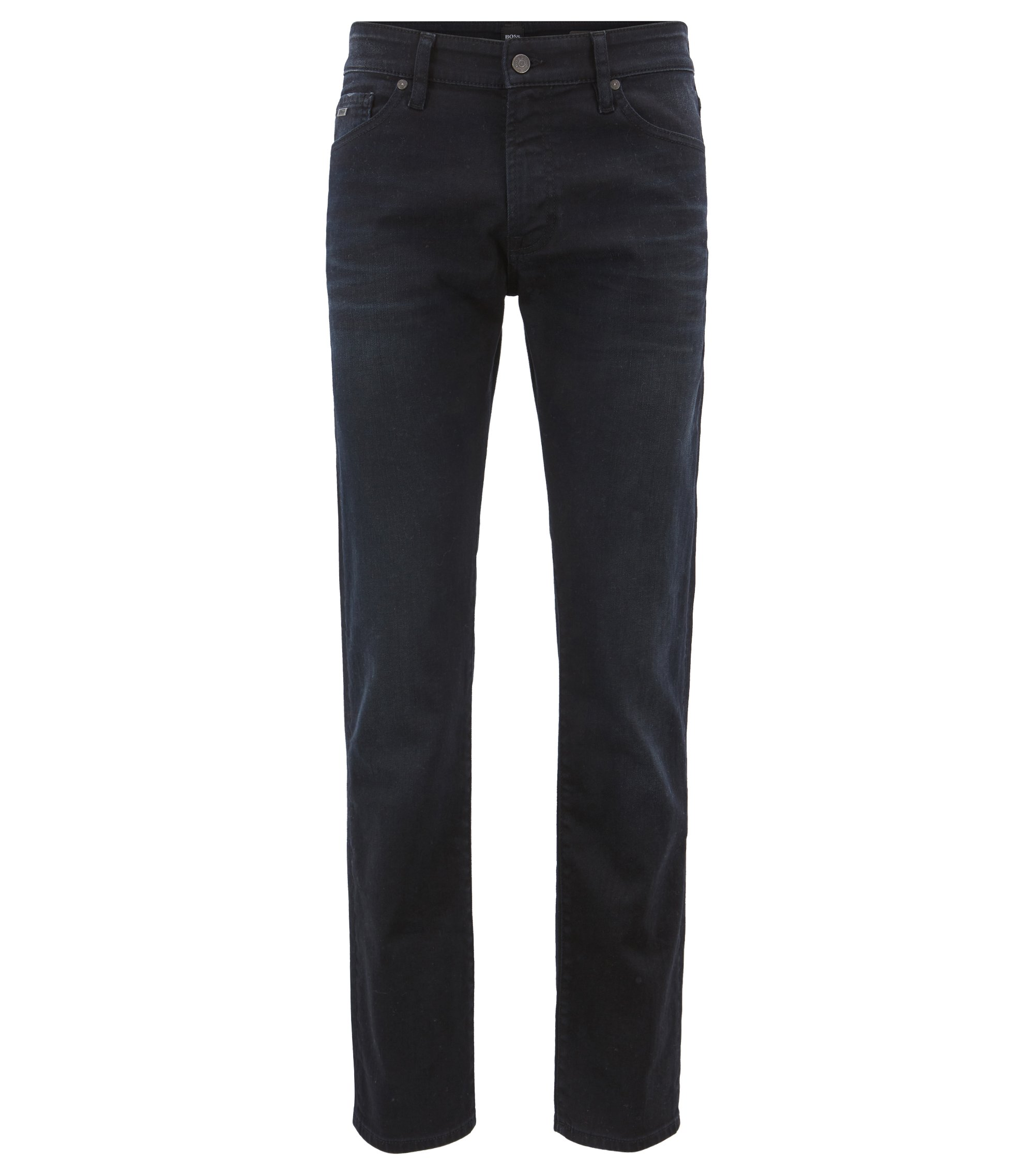 Jeans regular fit in denim elasticizzato indaco sovratinto, Blu scuro