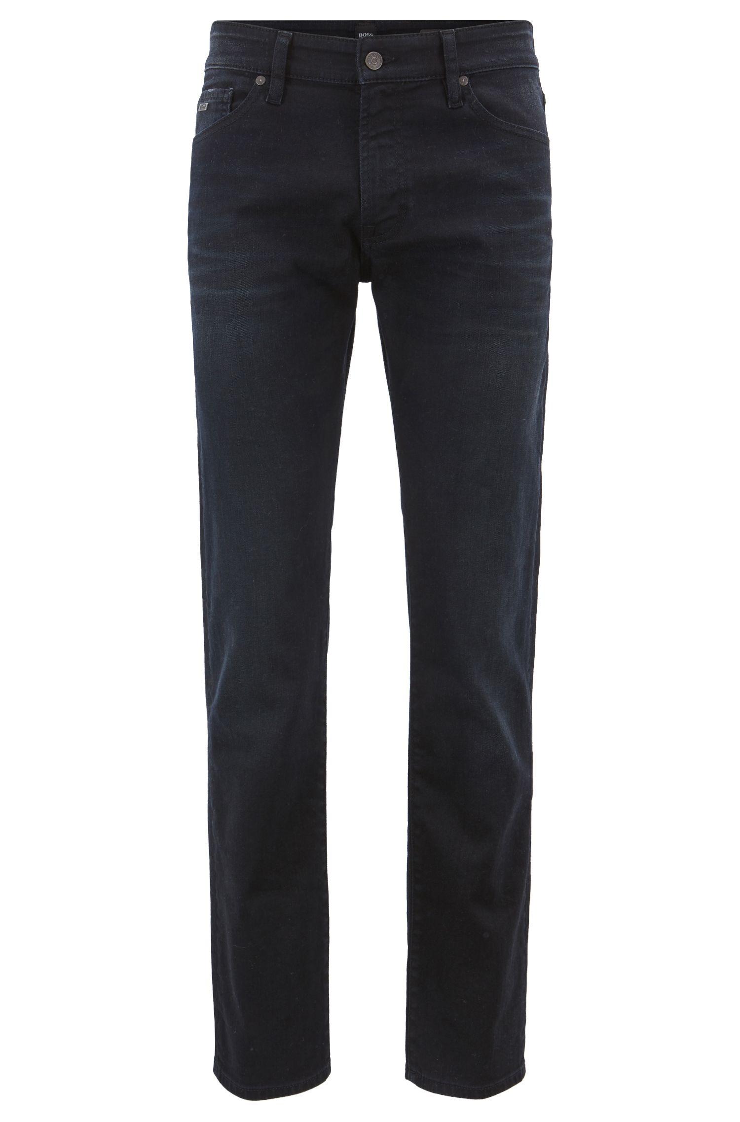 Regular-fit jeans van geverfd indigo stretchdenim, Donkerblauw