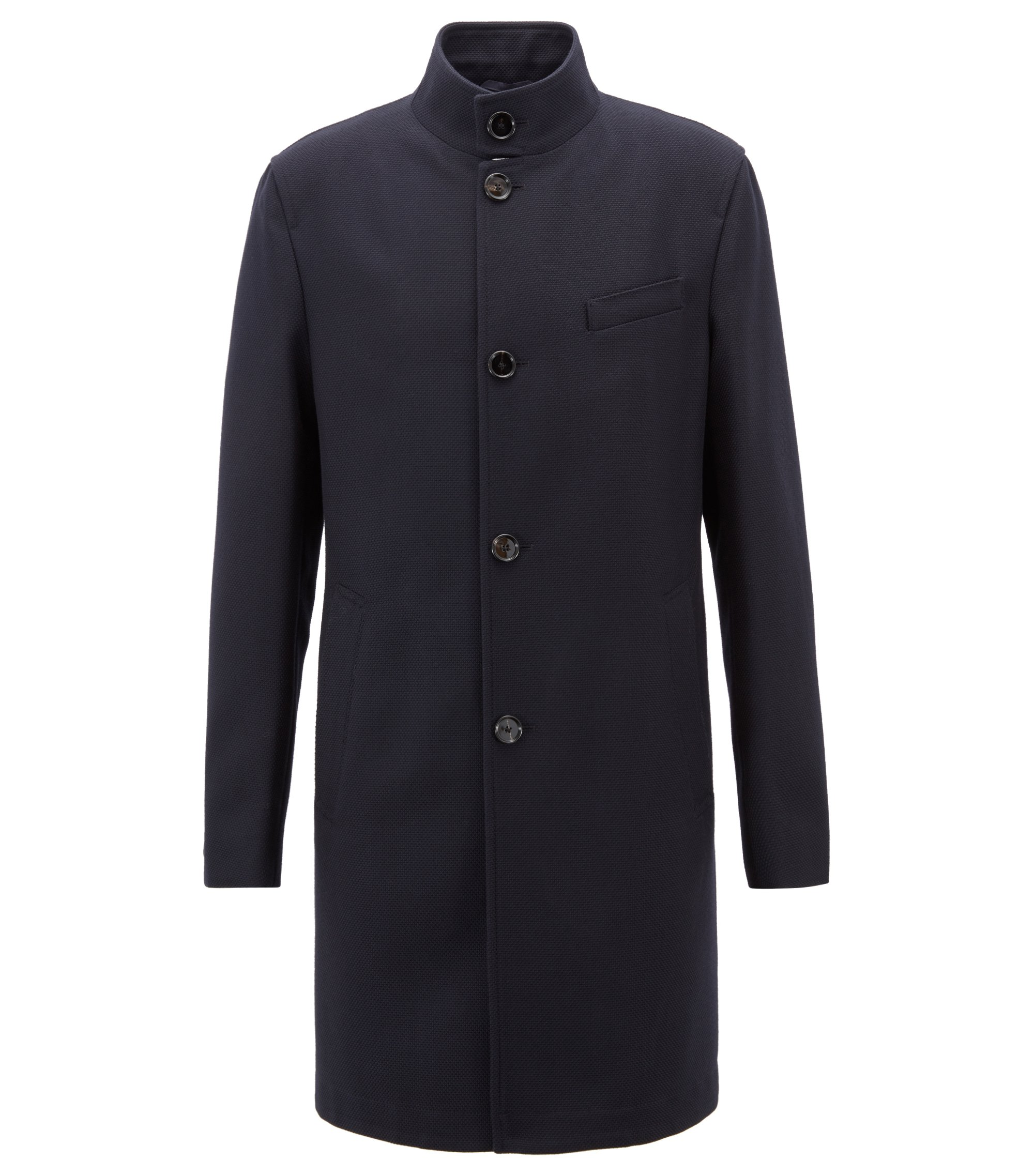 Formal coat in virgin wool with stand collar, Dark Blue