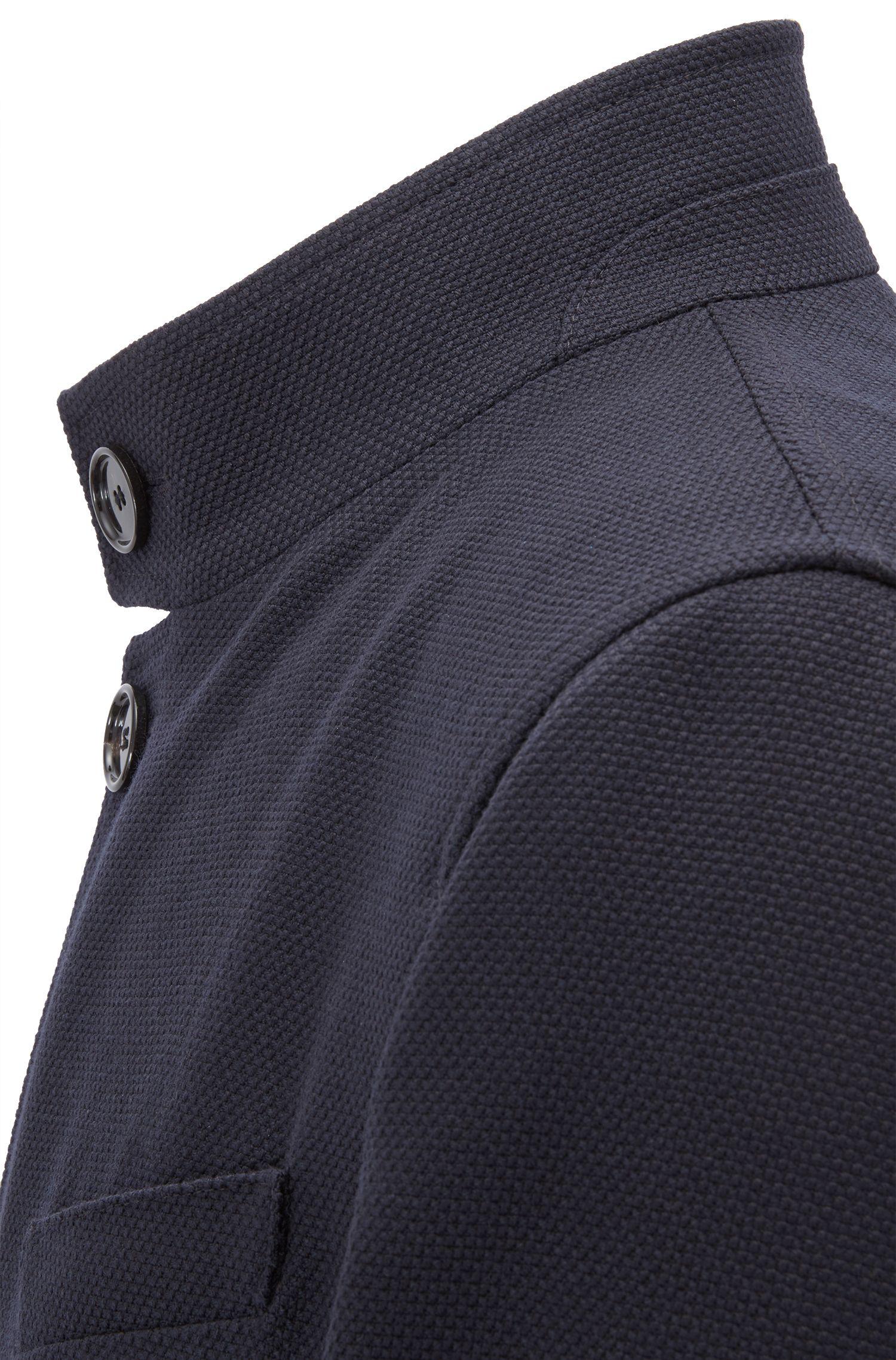 Slim-Fit Mantel aus Schurwolle mit Stehkragen, Dunkelblau
