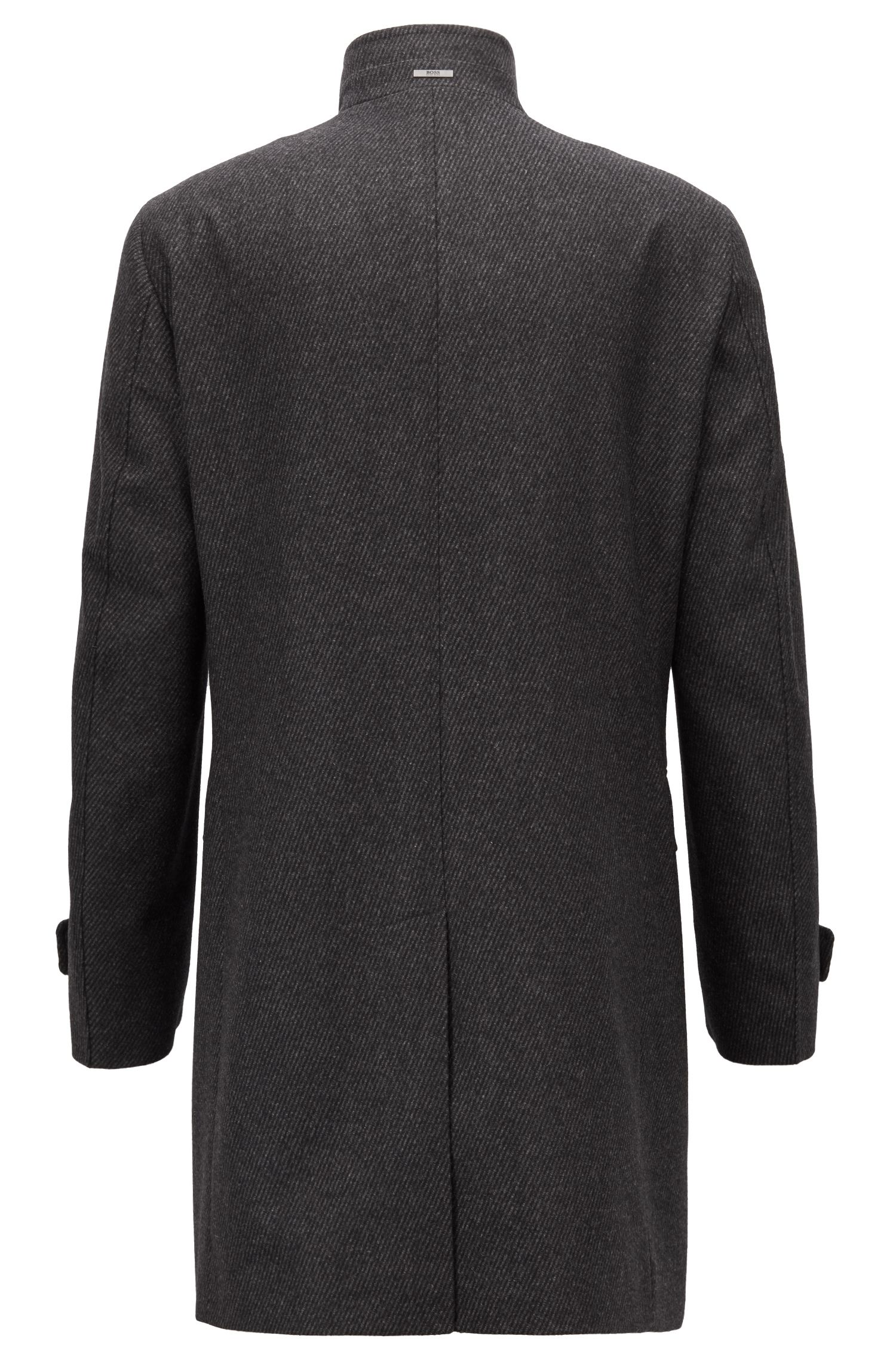 Formal coat in a wool blend with stand collar, Anthracite
