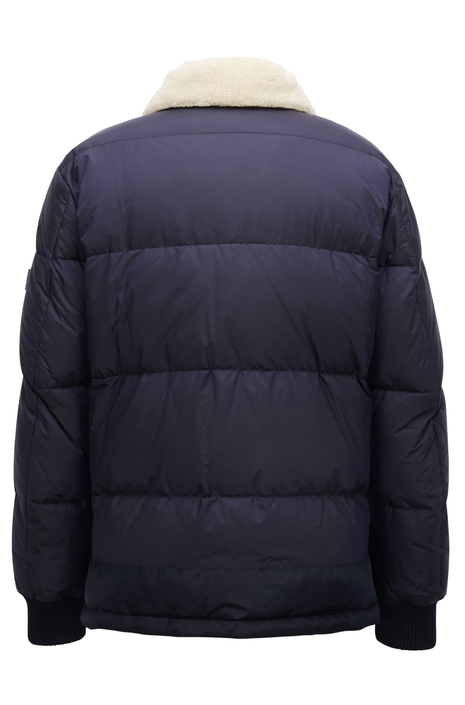 Water-repellent down-filled jacket with teddy-fabric collar