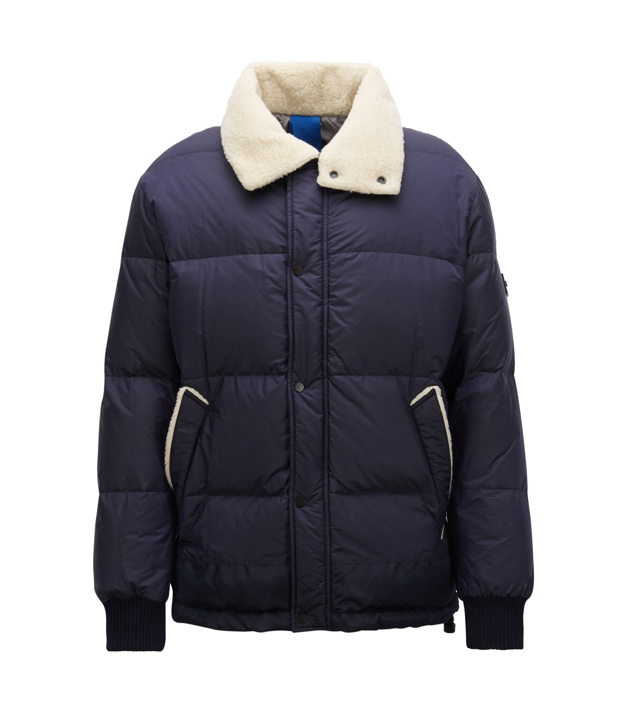 Water-repellent down-filled jacket with teddy-fabric collar, Dark Blue