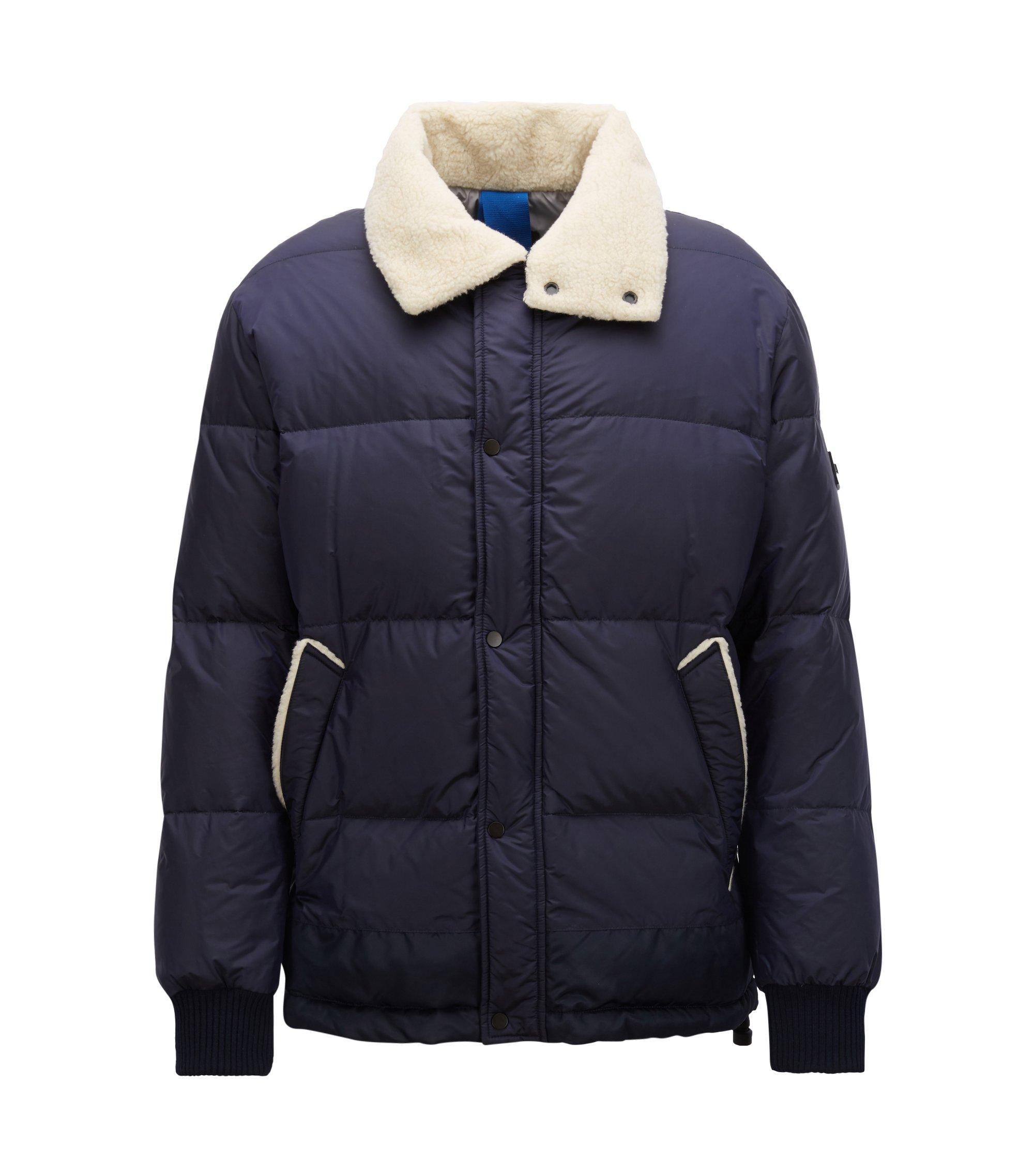 Waterafstotende jas met donsvulling en kraag van badstof, Donkerblauw
