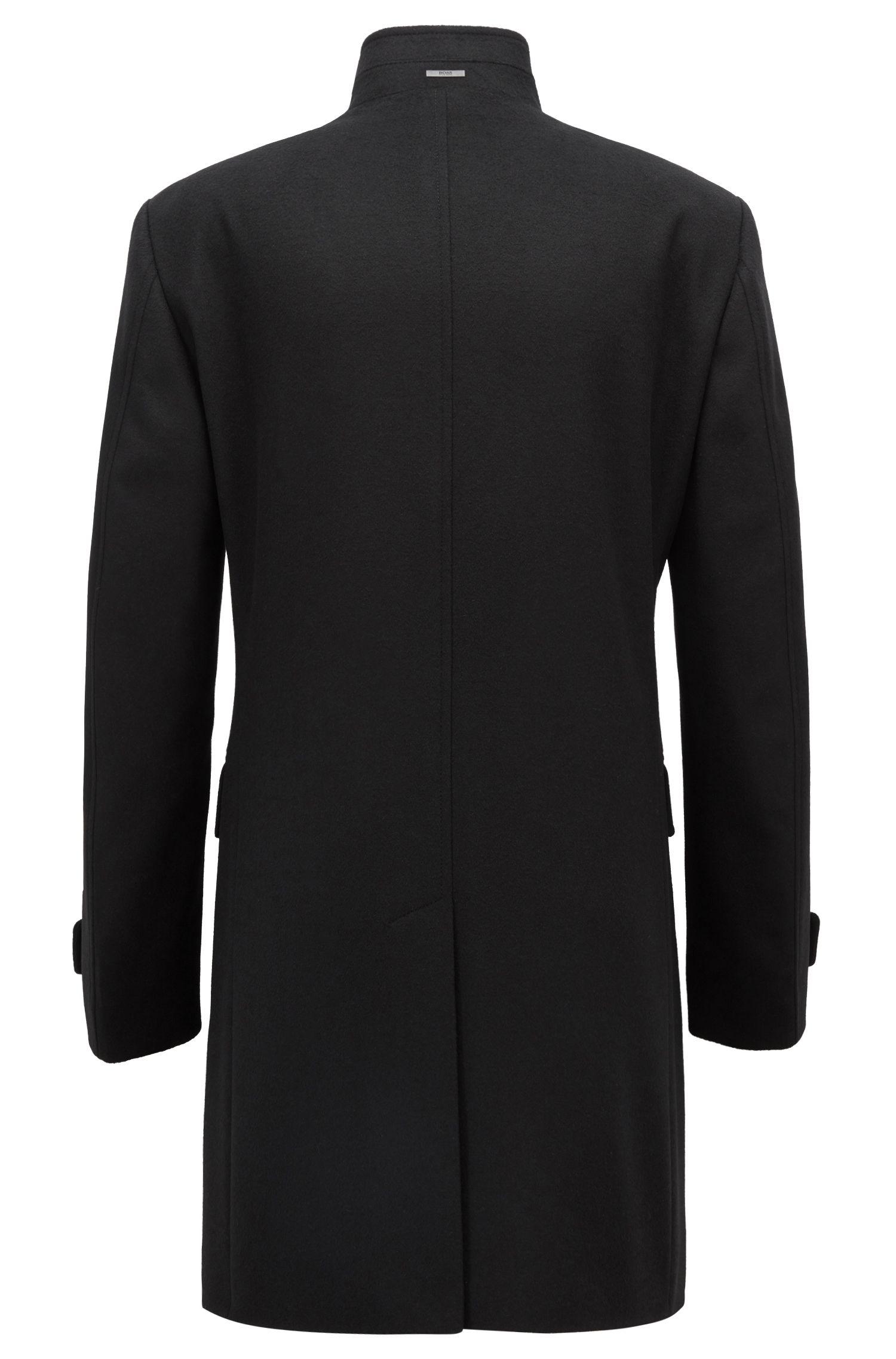 Regular-Fit Mantel aus Schurwoll-Mix mit Kaschmir und Stehkragen