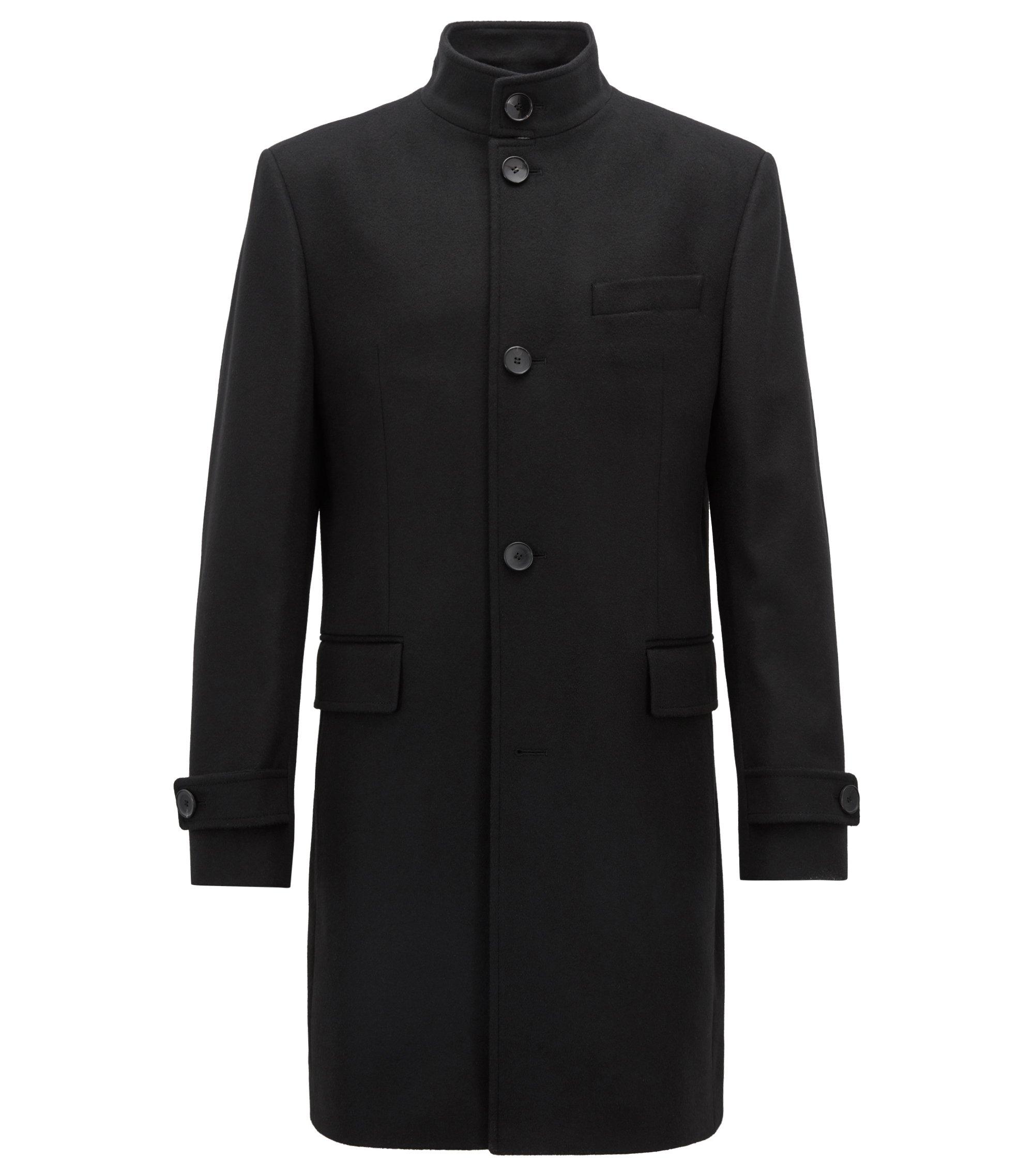 Manteau à col montant en laine vierge mélangée à du cachemire, Noir