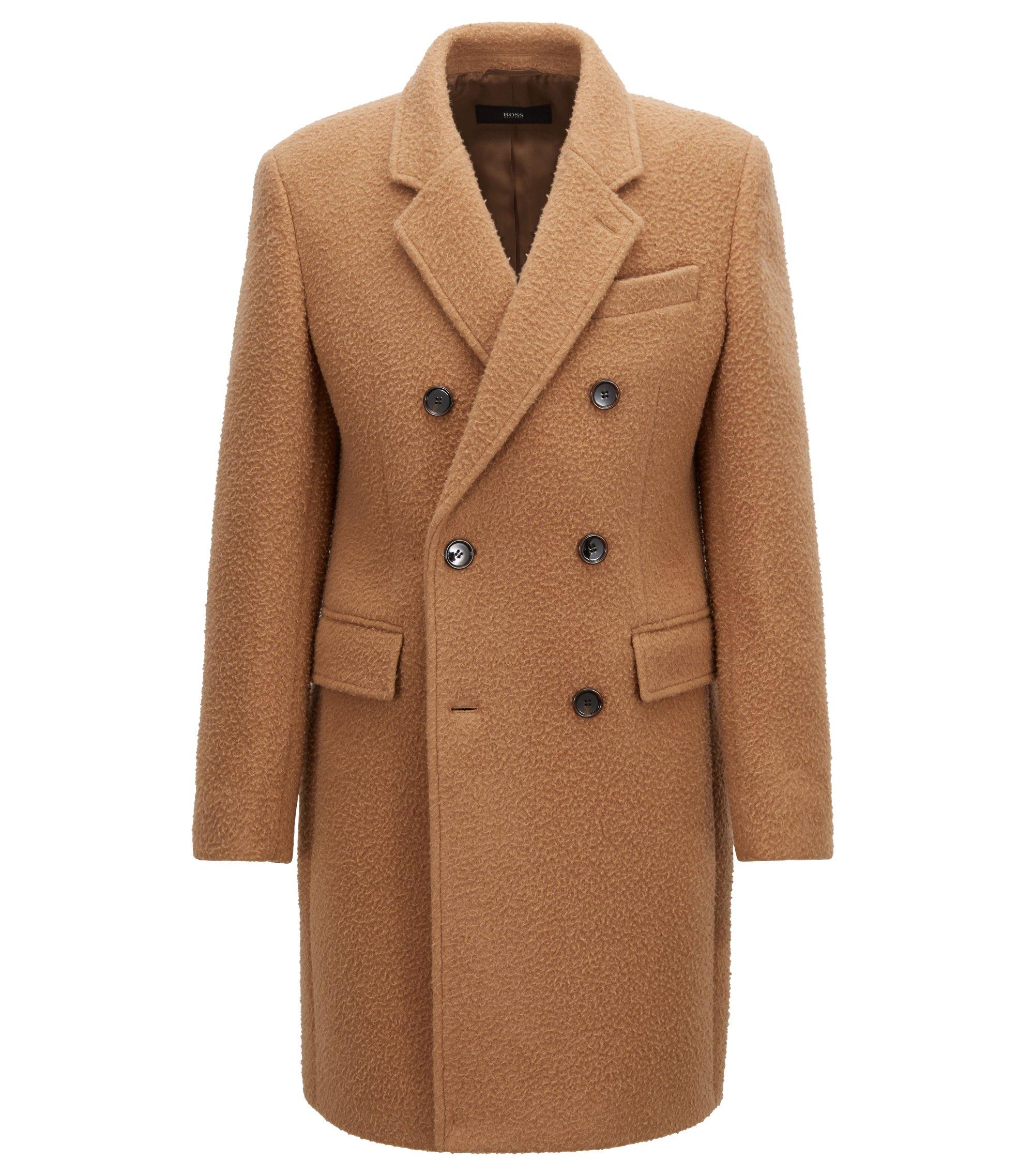 Abrigo cruzado slim fit en mezcla de lana, Beige