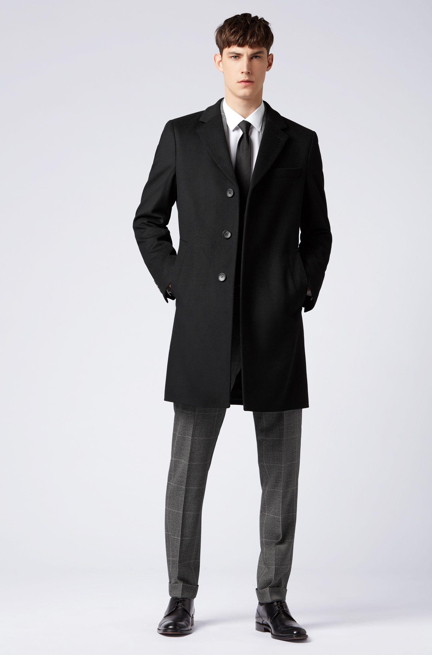 Zakelijke mantel van wol en kasjmier met notch-revers, Zwart