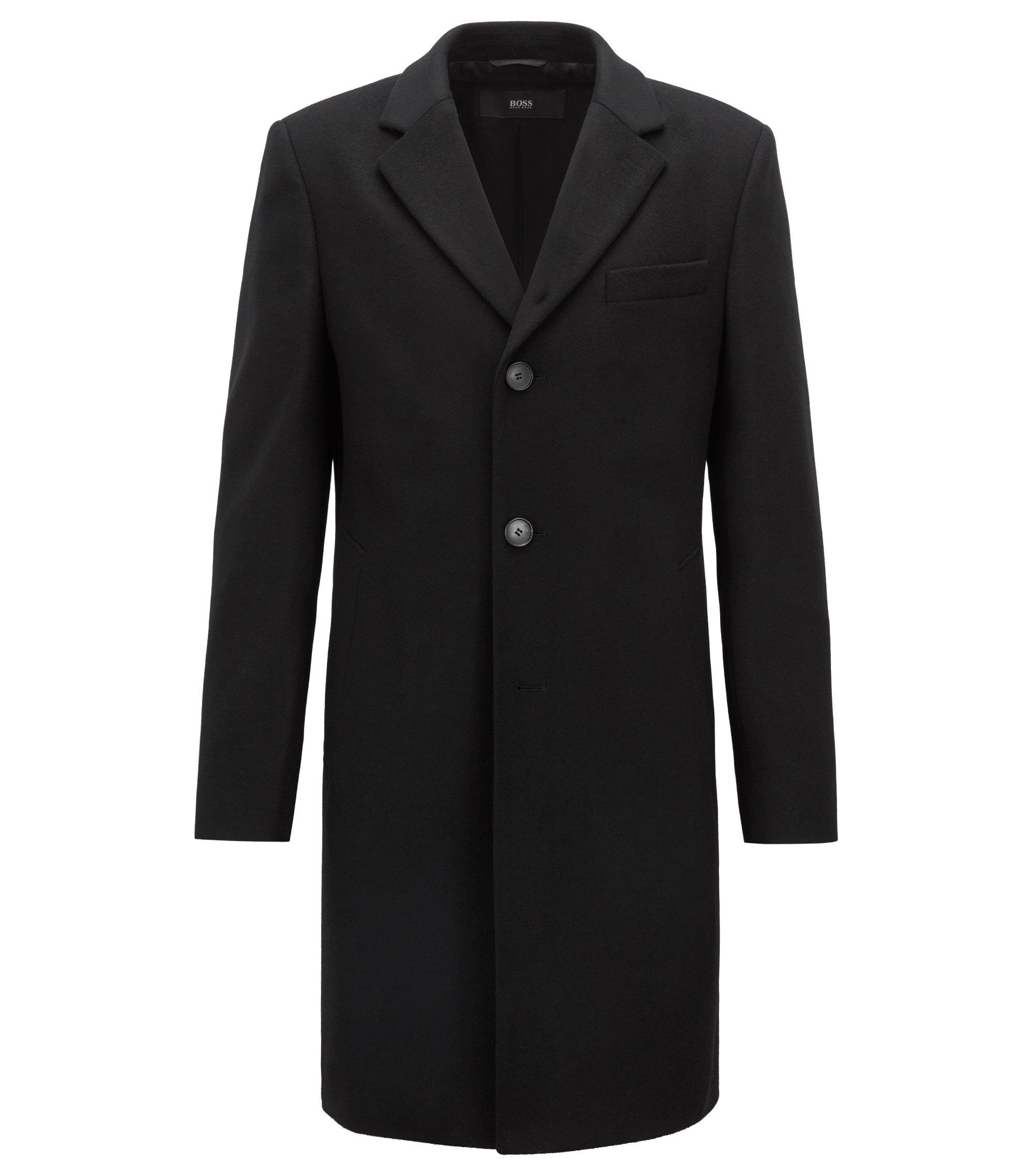Abrigo de punto en lana y cachemira con solapas descendentes, Negro