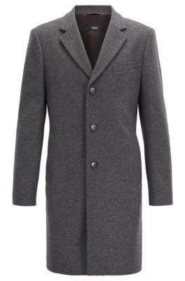 Mantel aus Schurwoll-Mix mit Kaschmir und fallendem Revers, Grau