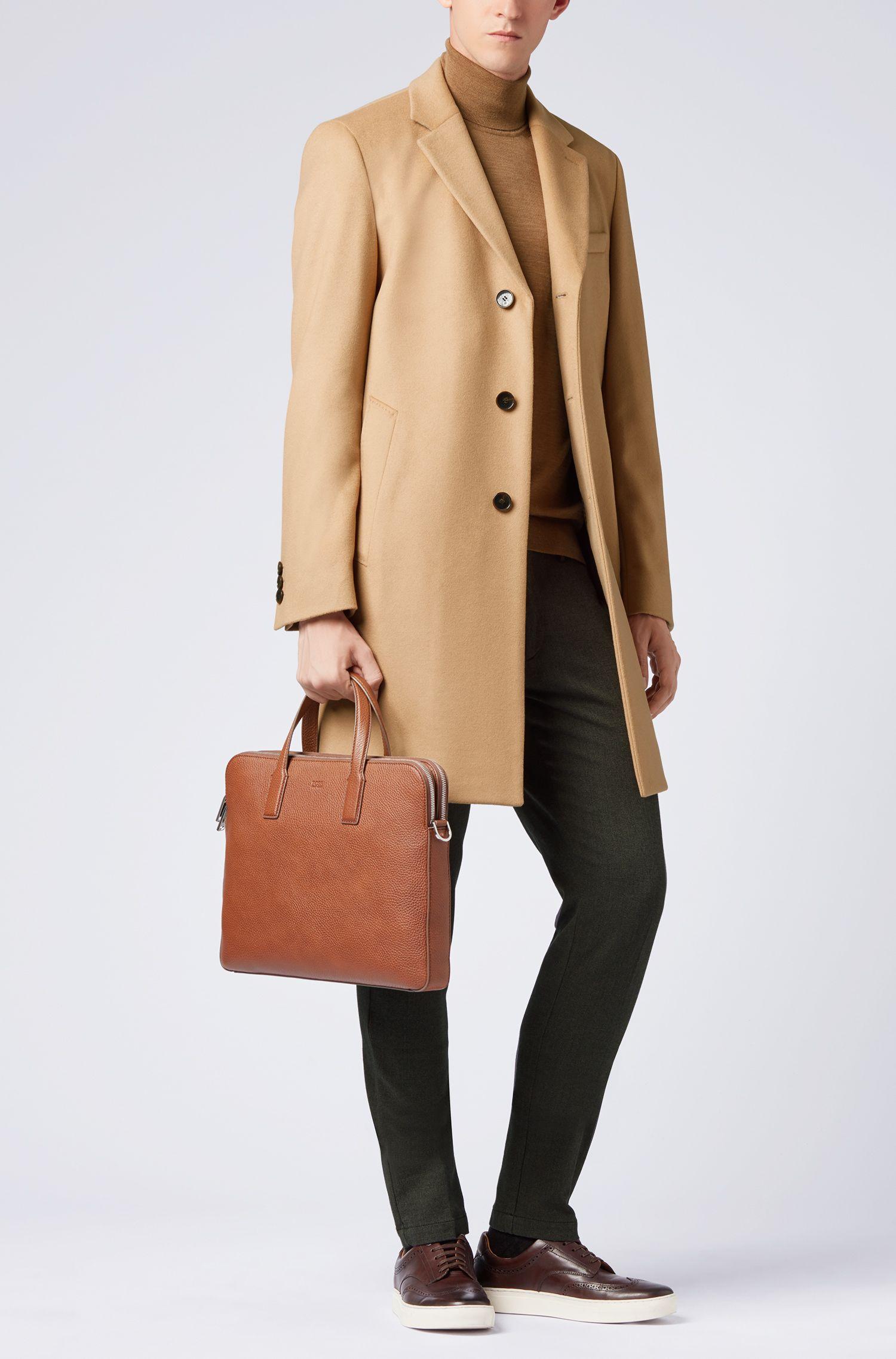 Zakelijke mantel van wol en kasjmier met notch-revers, Beige
