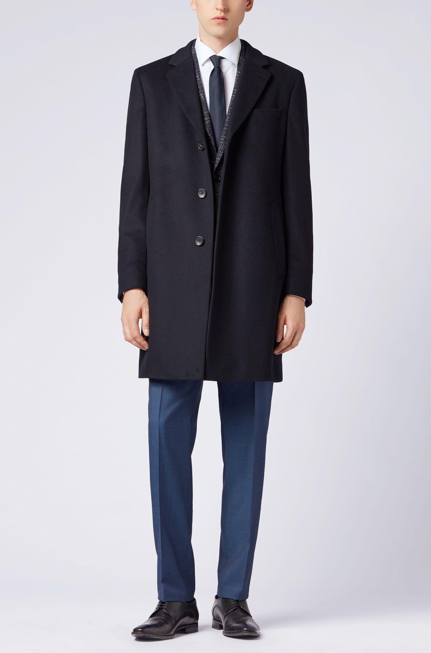 Cappotto formale in lana e cashmere con revers classico, Blu scuro