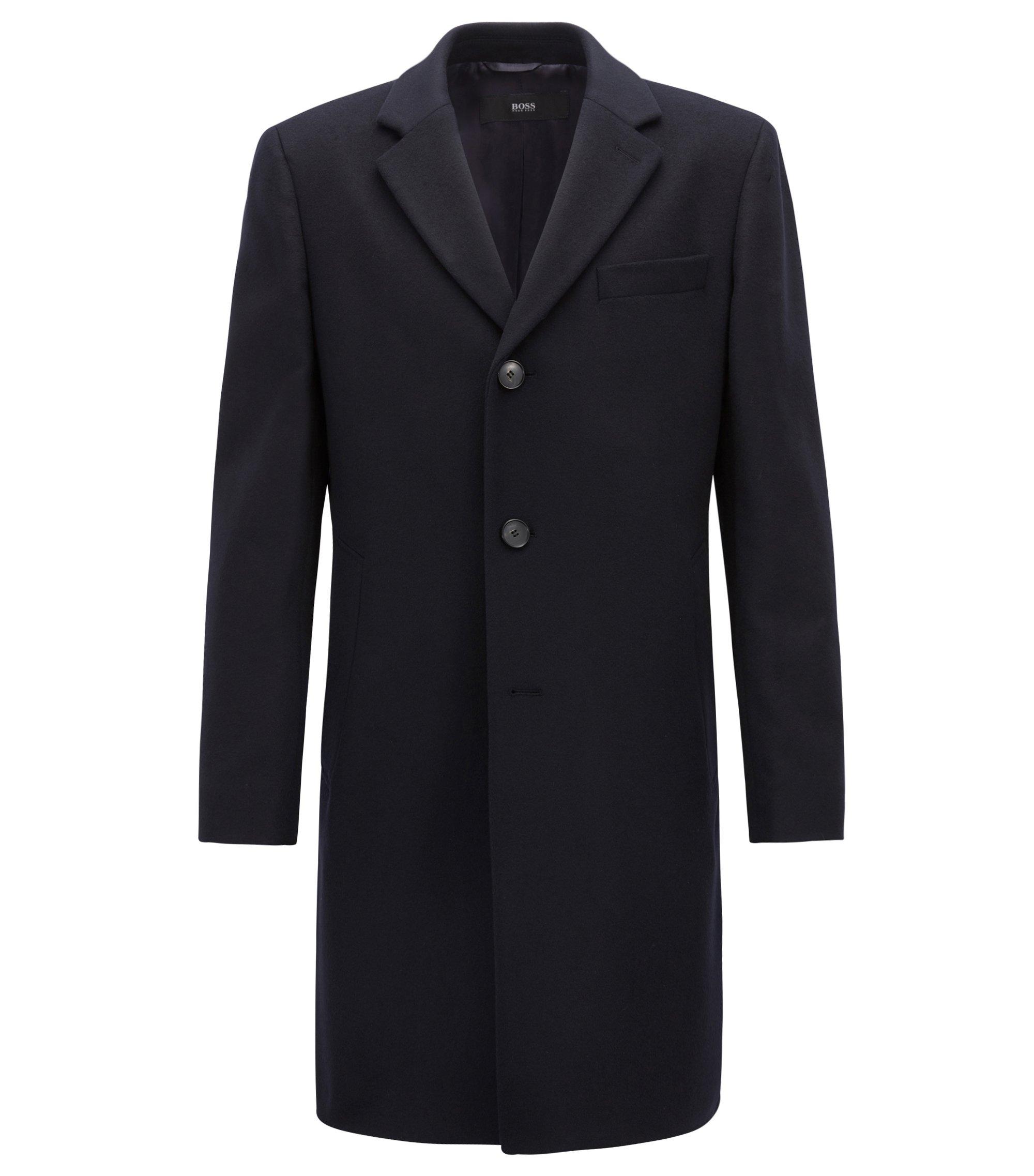 Abrigo de punto en lana y cachemira con solapas descendentes, Azul oscuro