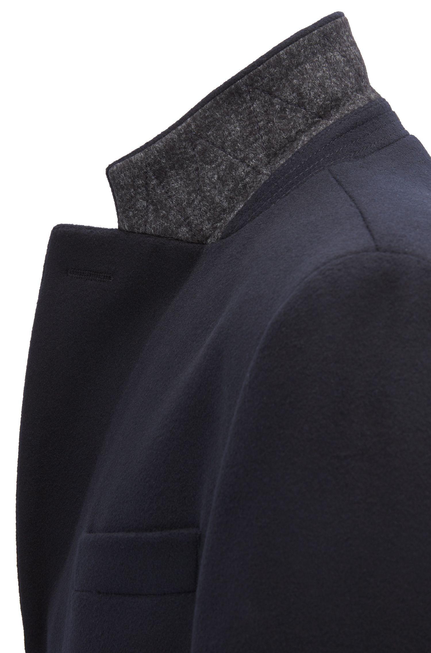 Pardessus en laine et cachemire avec revers cranté, Bleu foncé