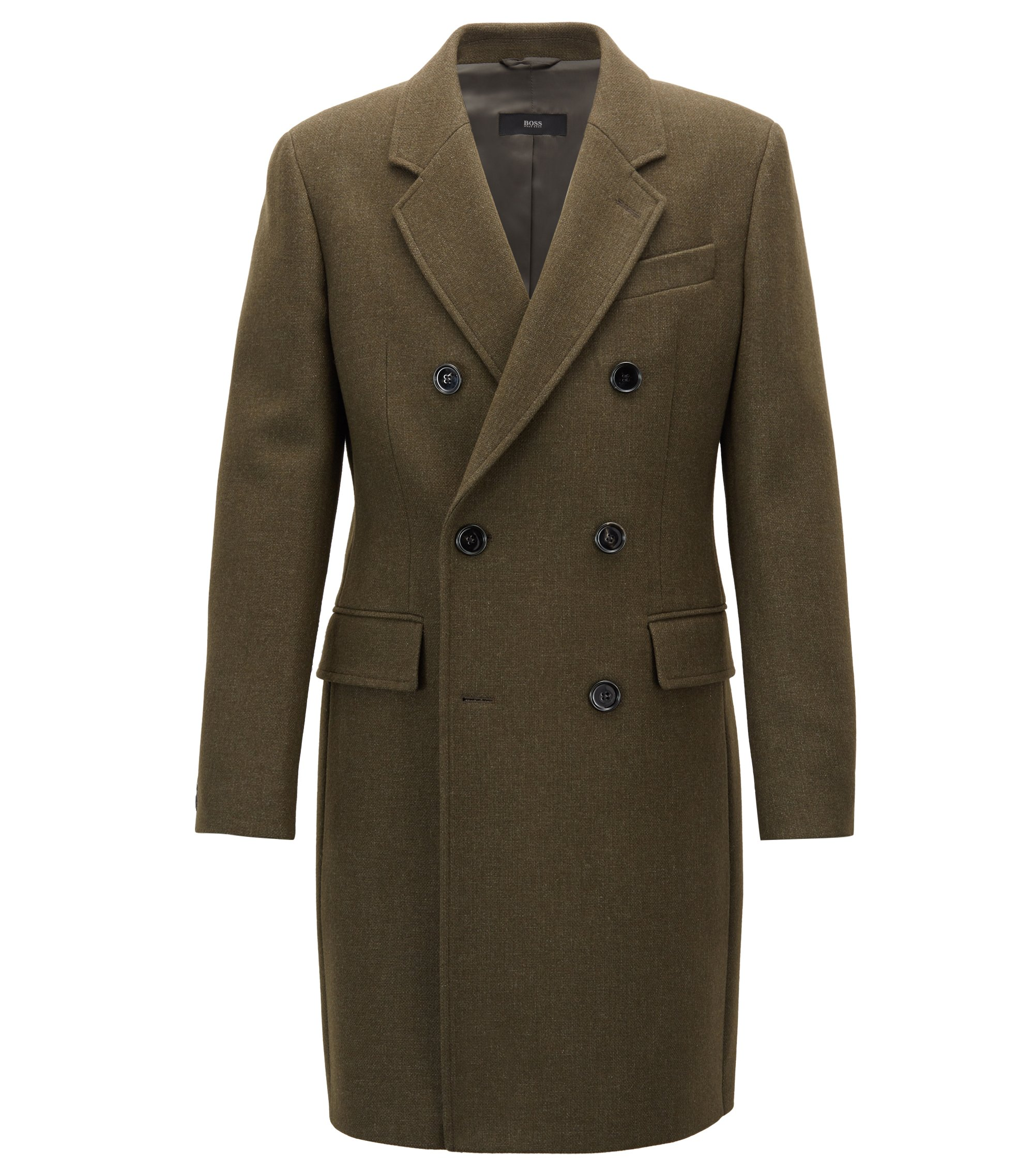 Double-breasted coat in a melange wool blend, Dark Green