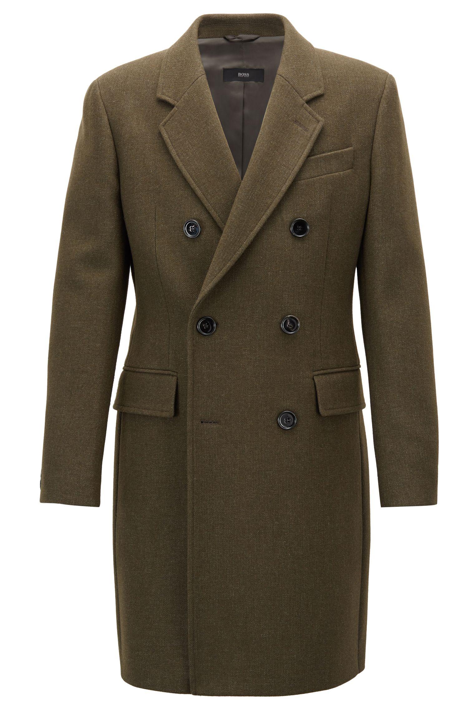 Manteau croisé en laine chinée mélangée, Vert sombre