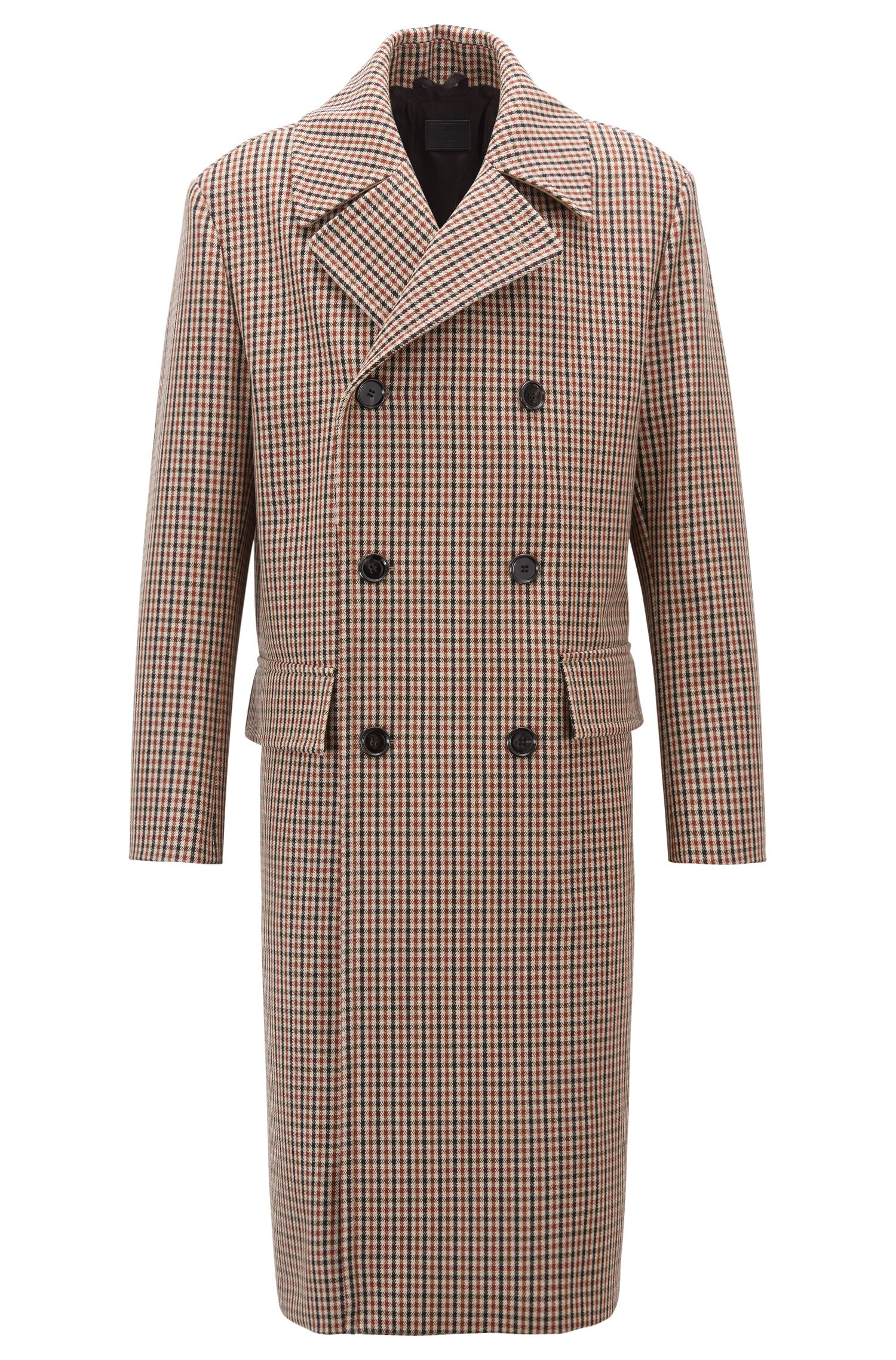 Made in Germany longline wool-blend coat with check, Light Brown