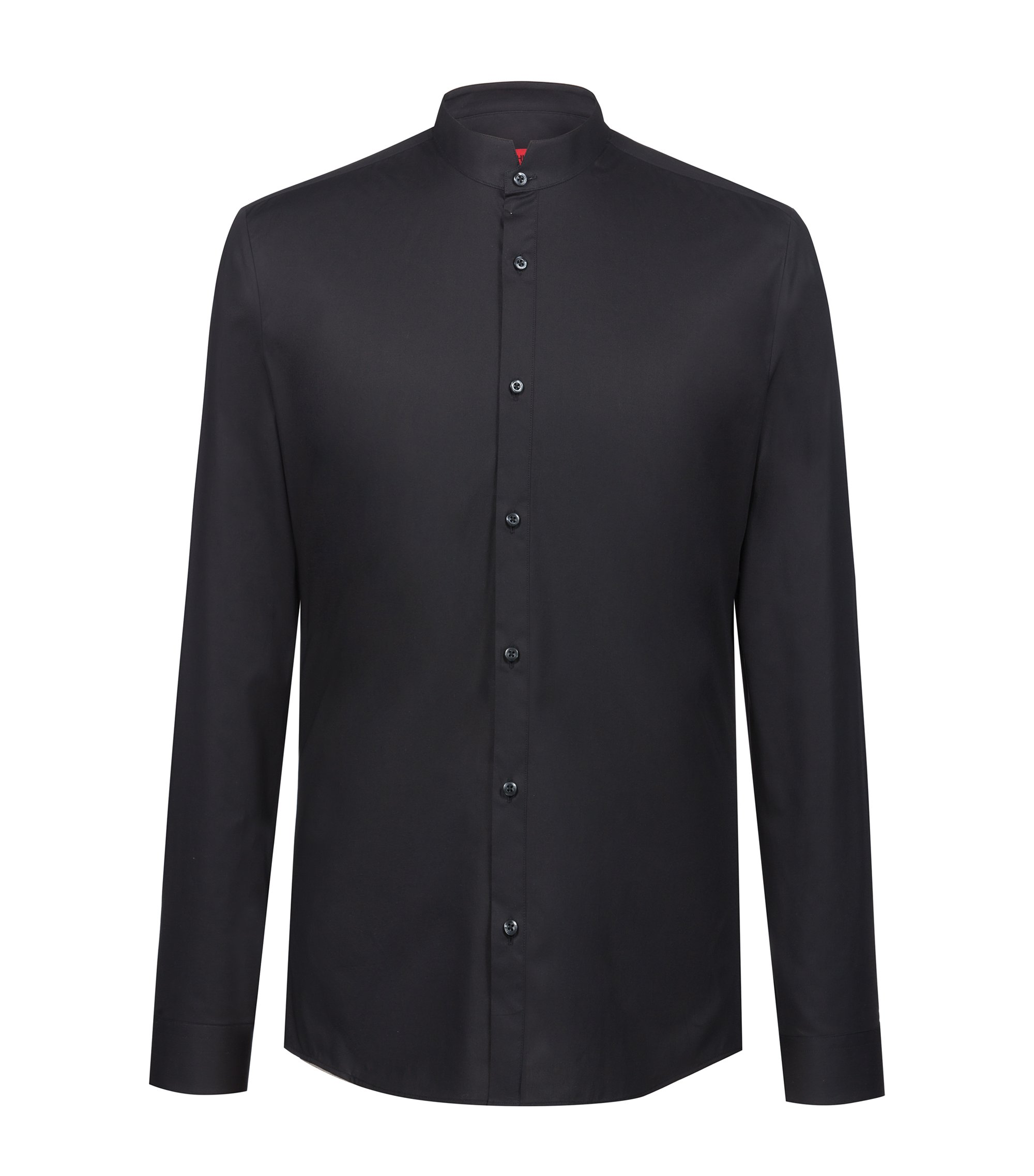 Chemise Extra Slim Fit à col montant en coton stretch, Noir